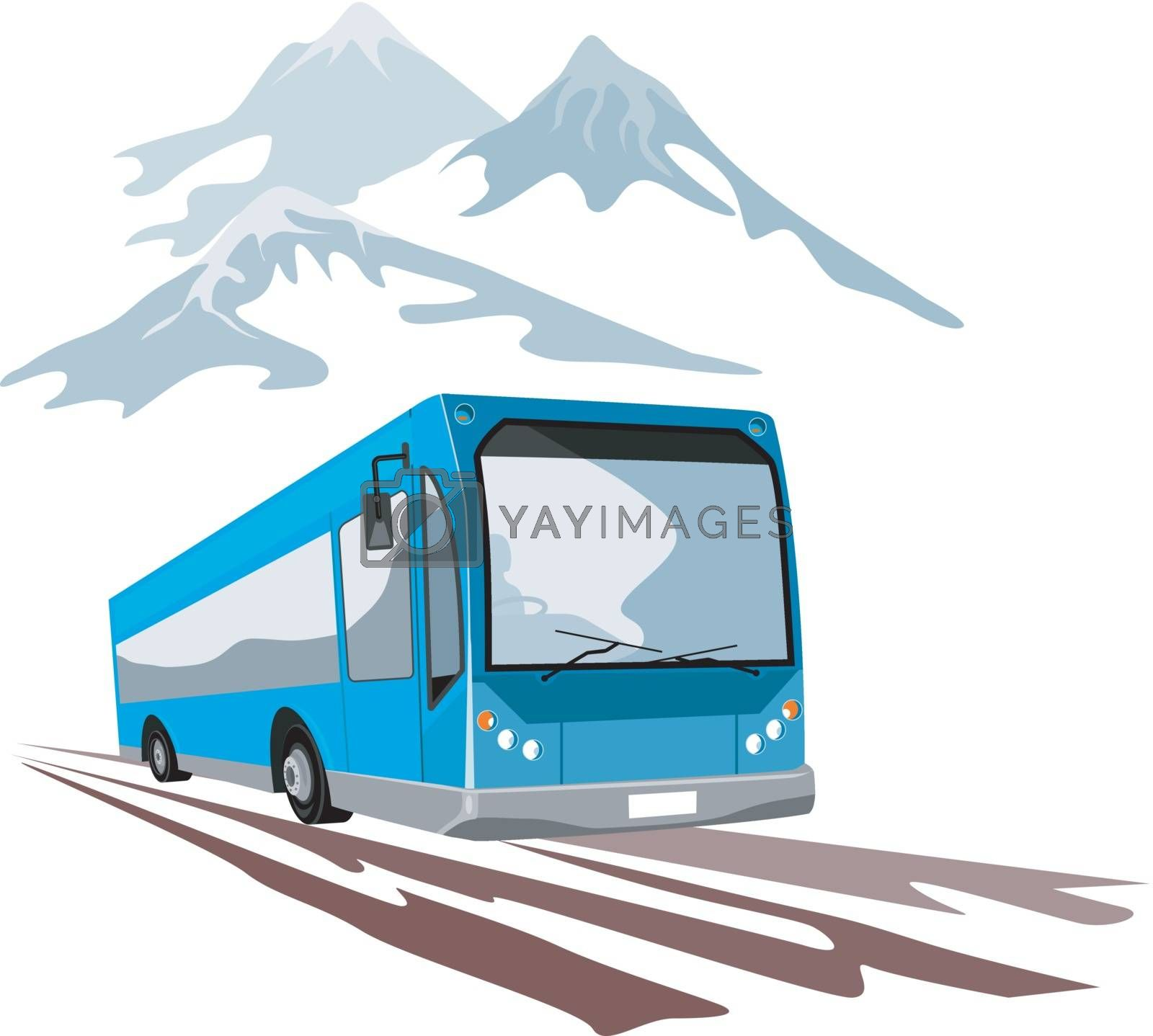 Illustration of a shuttle coach bus with mountains in the background on isolated background