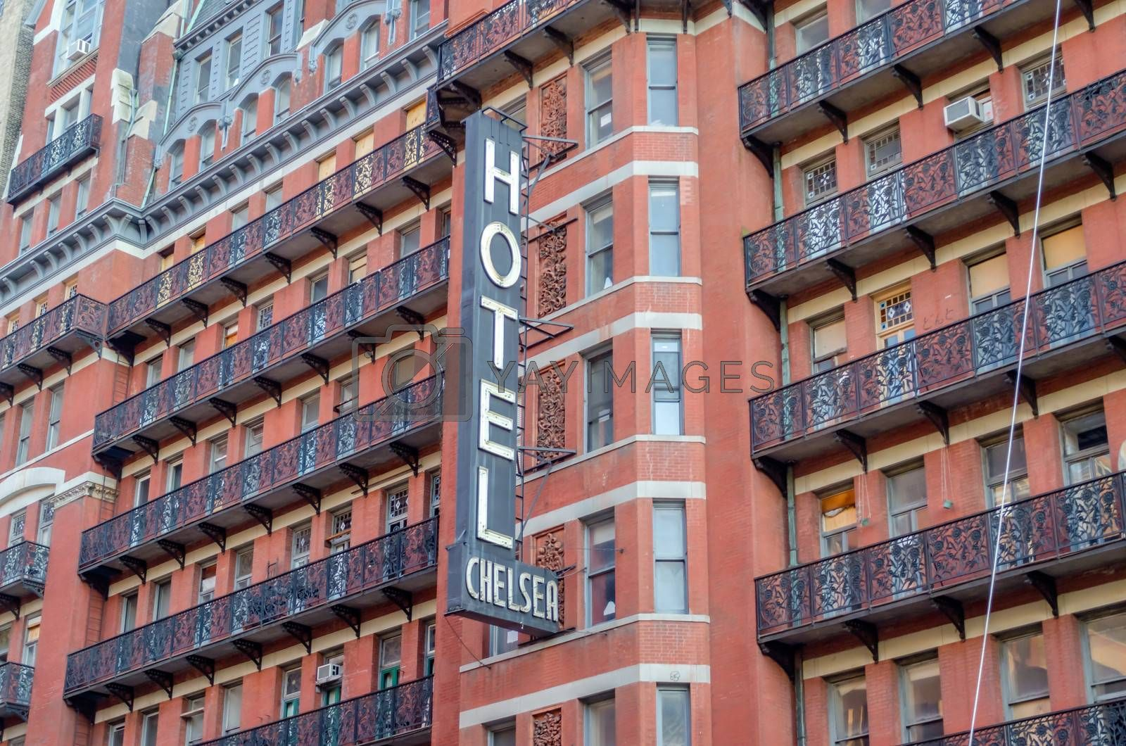 NEW YORK - CIRCA MAY 2013: The Hotel Chelsea, New York, circa May 2013. The Hotel is a historic landmark in New York, known for the notability of its residents over the years