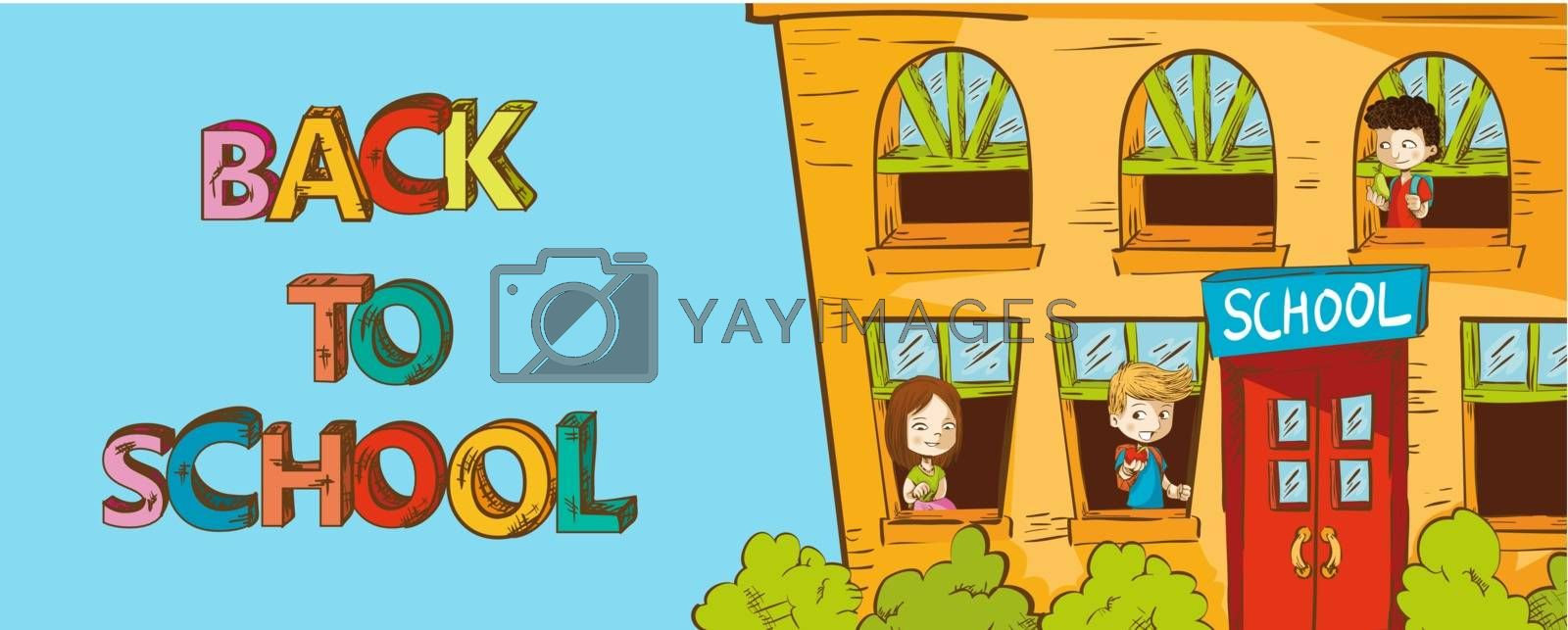Back to School education School house with kids inside cartoon illustration. Vector layered for easy personalization