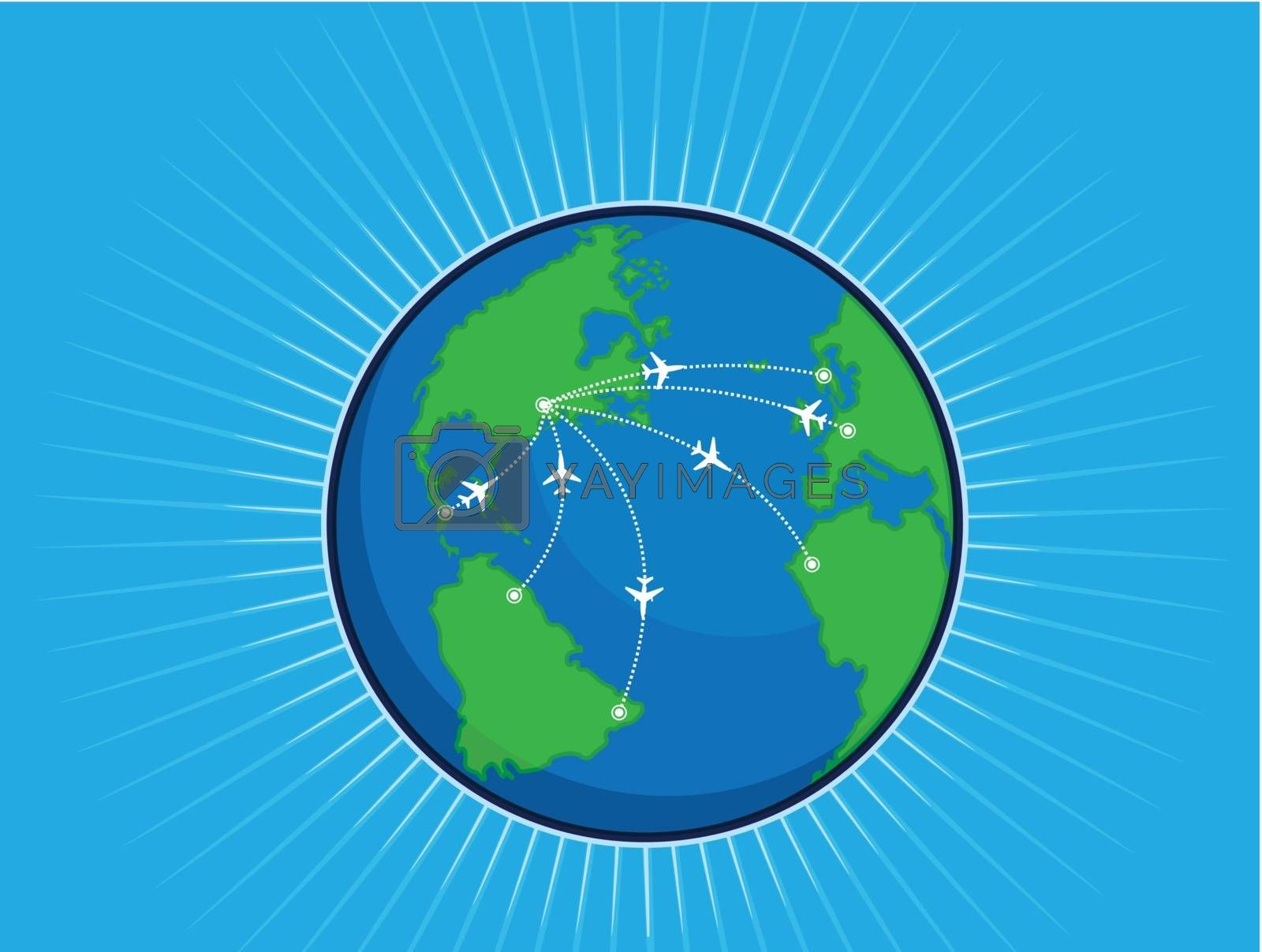 A vector image of an airplane route around the world globe. Good for many application, especially in travel. Available as a Vector in EPS8 format that can be scaled to any size without loss of quality. The graphics elements are all can be moved or edited individually.