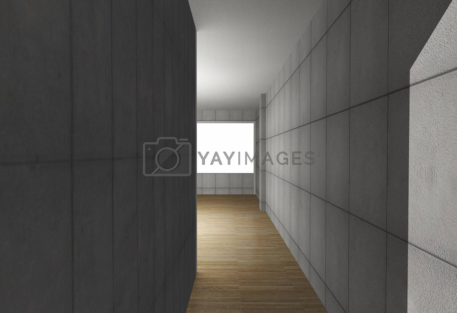 Abstract interior with bare concrete wall and wood floor, 3D rendered