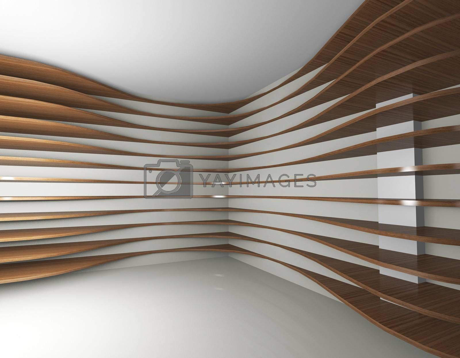 3D rendered of futeristic interior with curve wood shelfs
