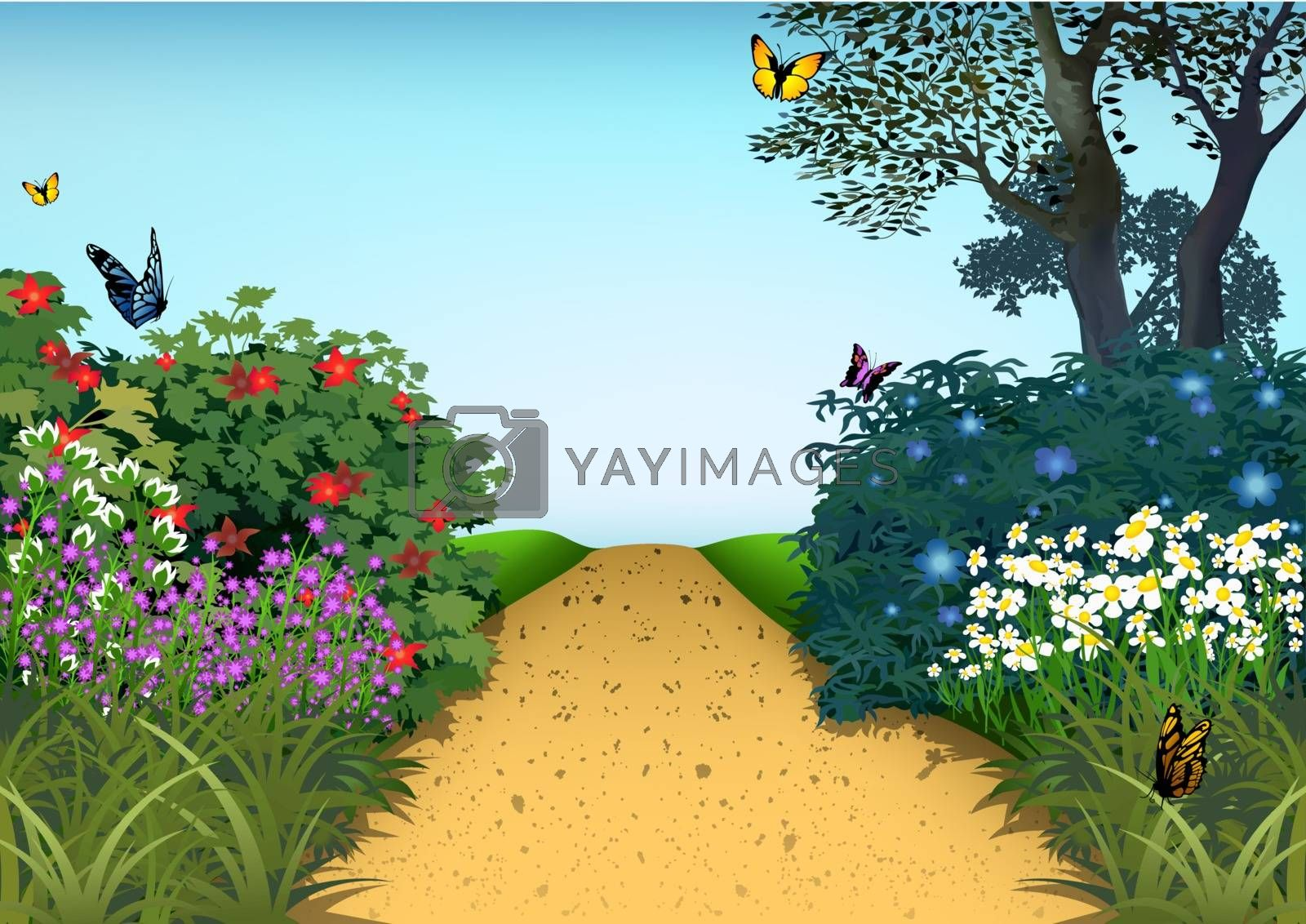 Summer Garden - Cartoon Background Illustration, Vector