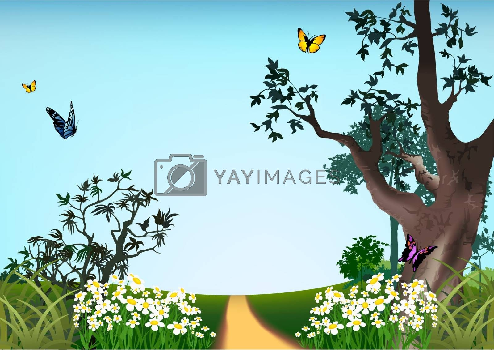 Summer Landscape - Cartoon Background Illustration, Vector