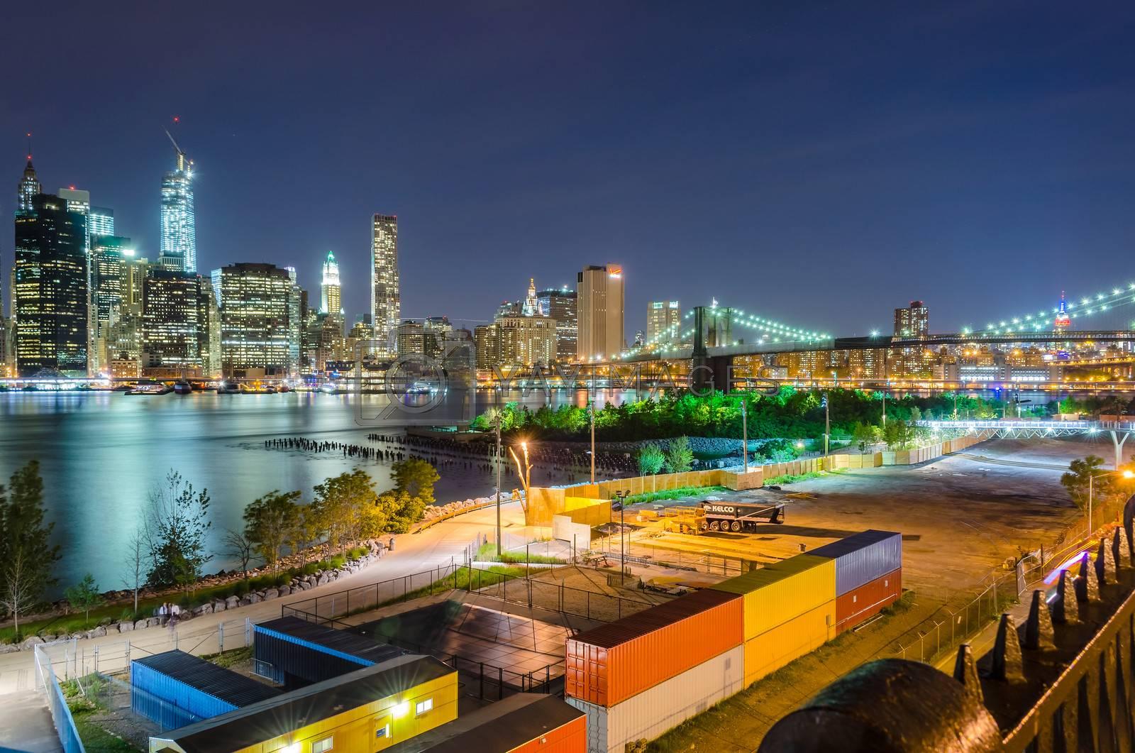 Manhattan Skyline and Brooklyn Bridge at Night, as seen from Brooklyn Heights Promenade