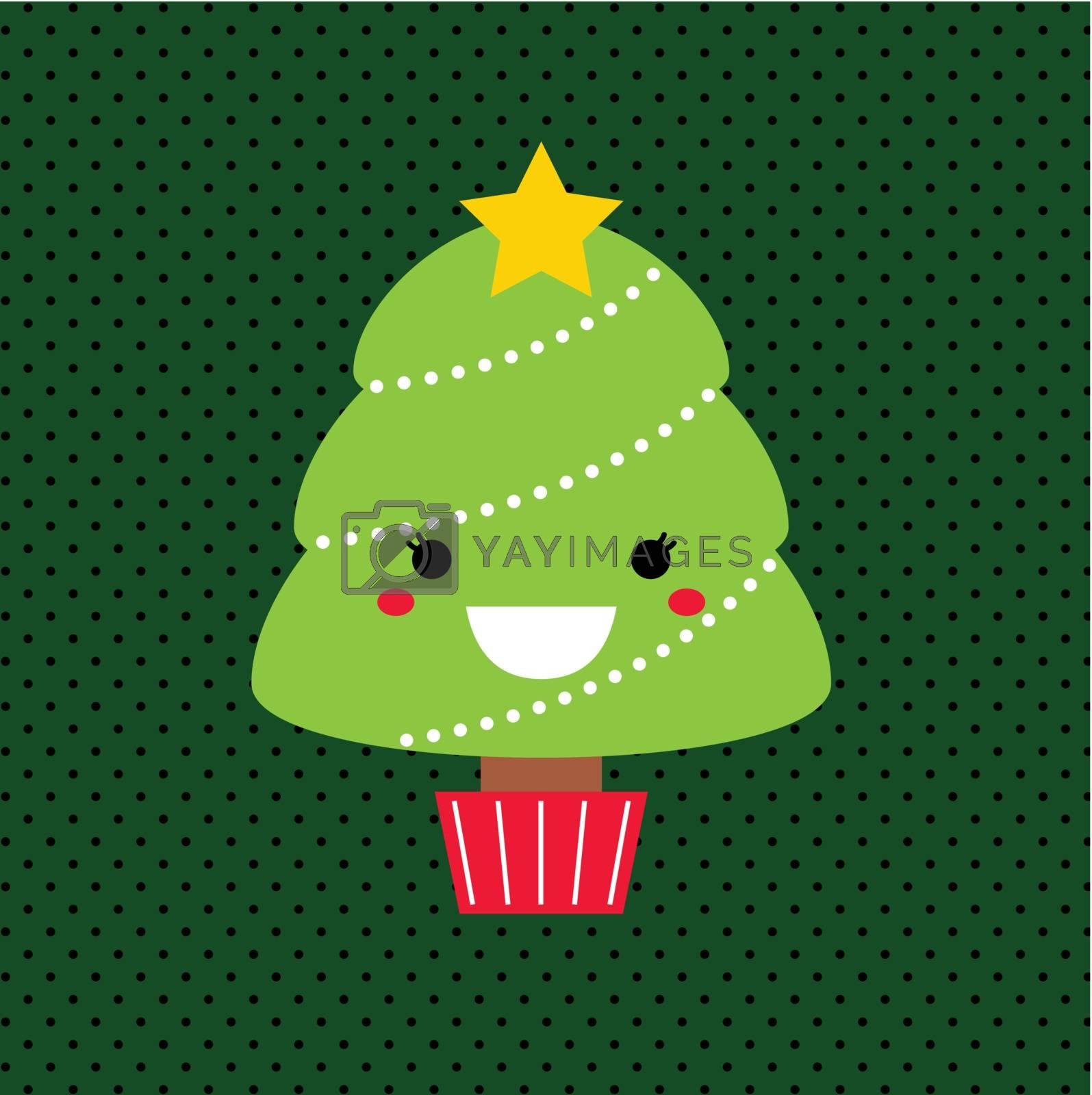 Merry Christmas Kawaii tree. Vector Illustration