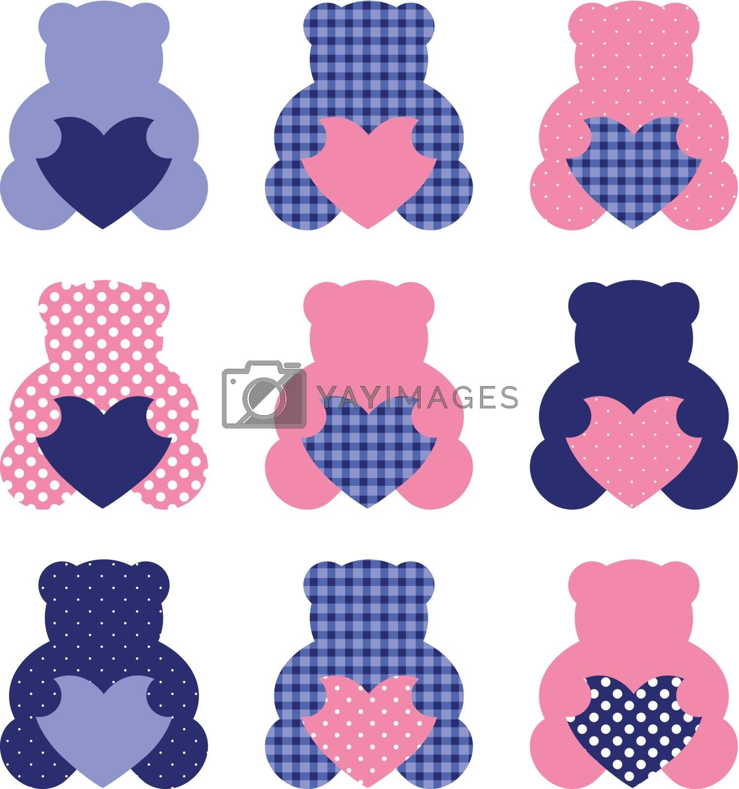Retro abstract teddy bear collection. Vector Illustration