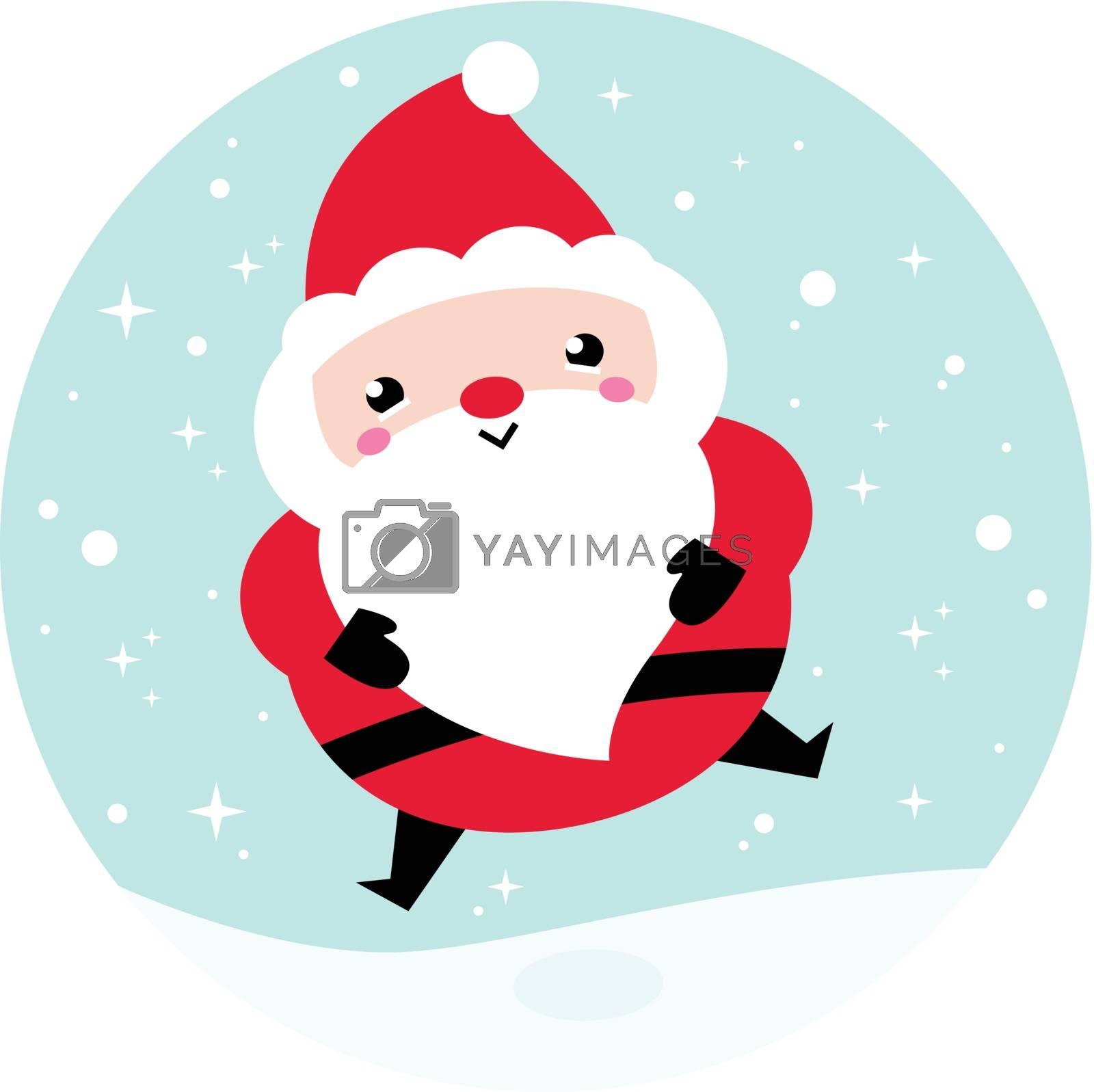 Adorable Santa - Kawaii Christmas character. Vector Illustration