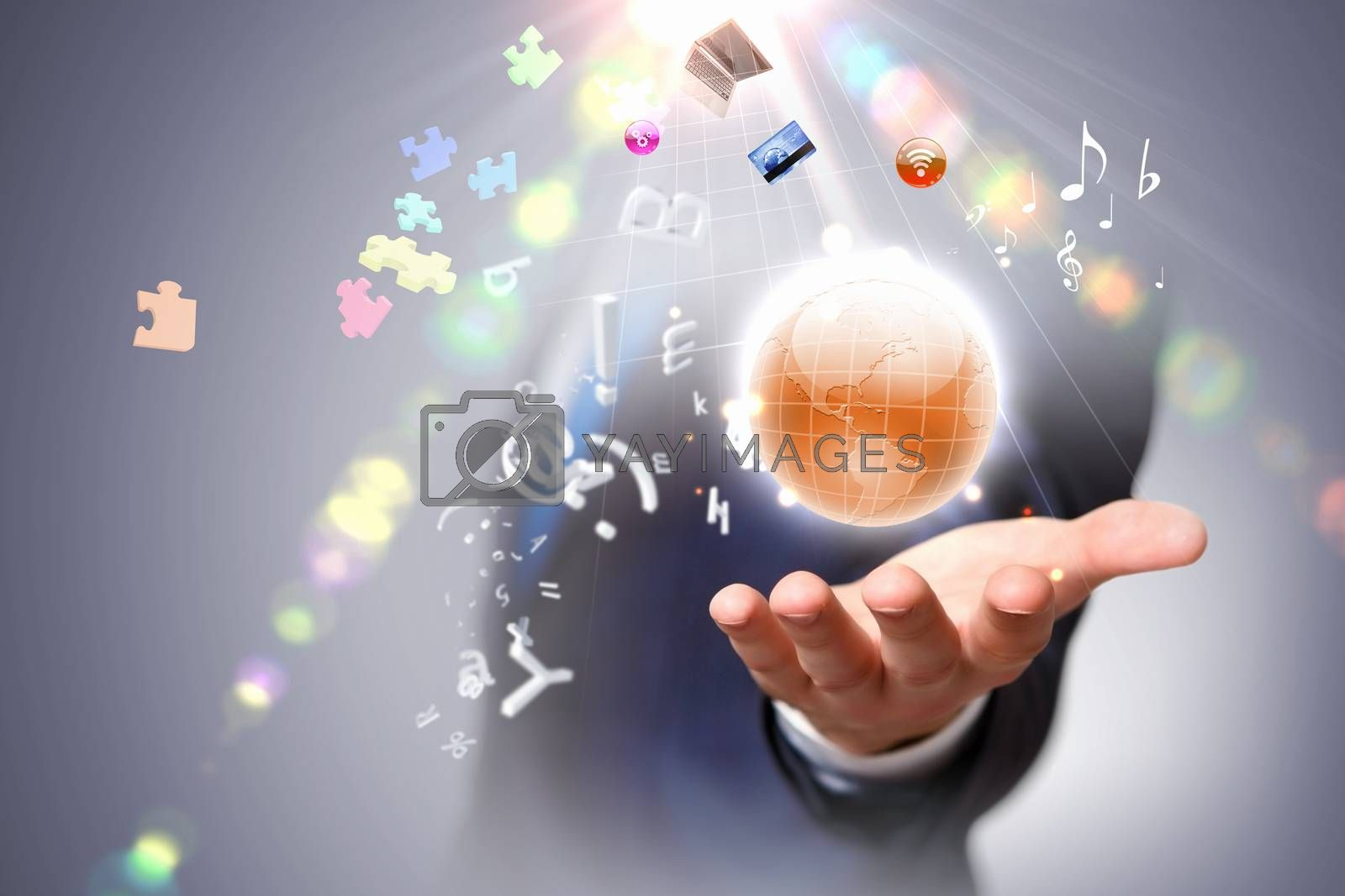 Person holding illustration of globe in hand. Media technologies