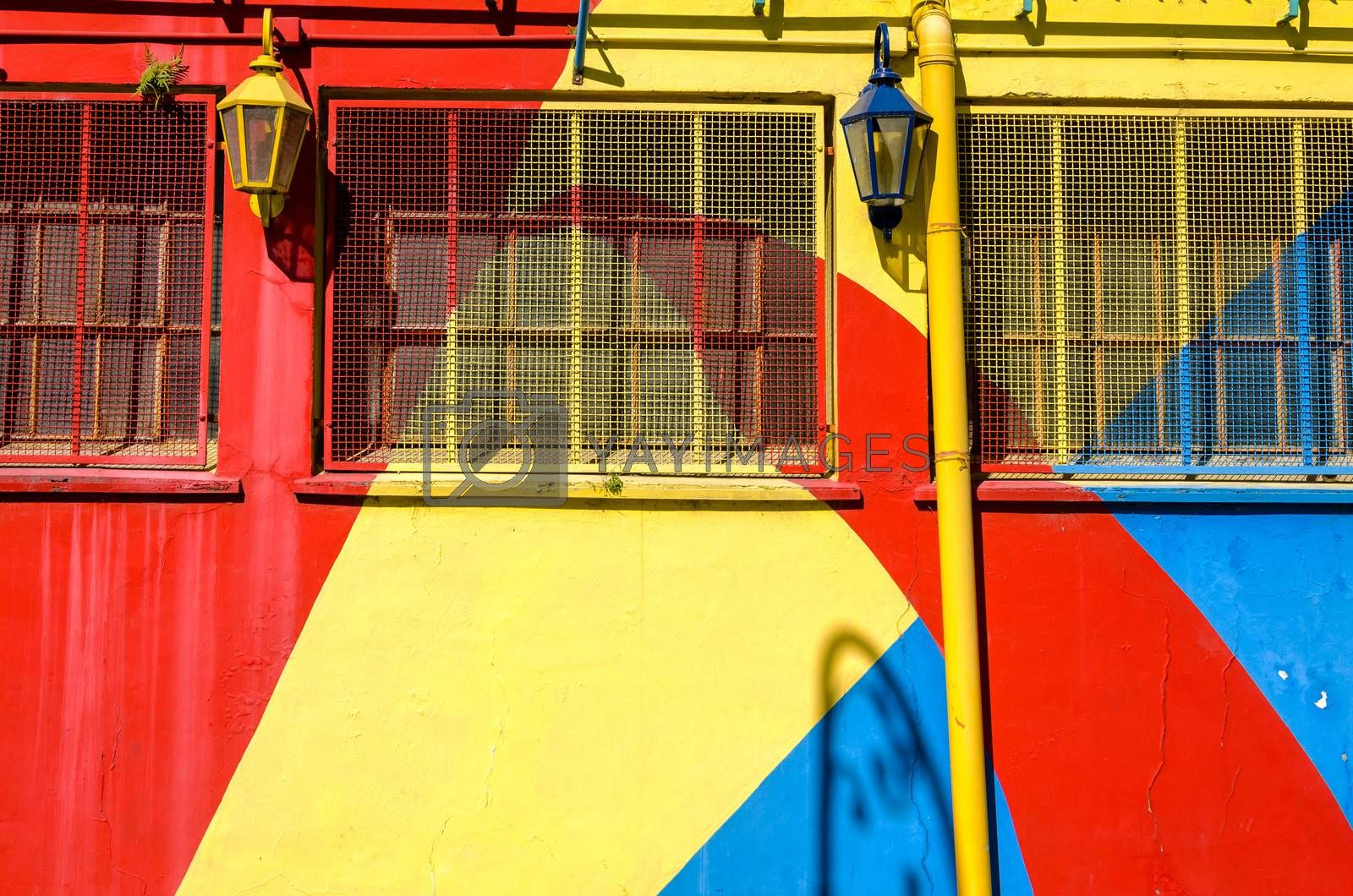 Brightly colored wall in la Boca neighborhood in Buenos Aires, Argentina