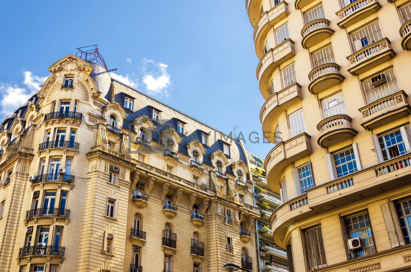 Beautiful French style architecture in the Recoleta neighborhood of Buenos Aires, Argentina