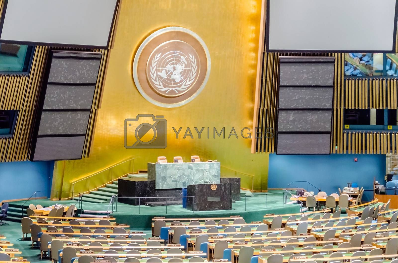 NEW YORK - MAY 28: The General Assembly Hall is the largest room in the United Nations with seating capacity for over 1,800 people. May 28, 2013 in Manhattan, New York City
