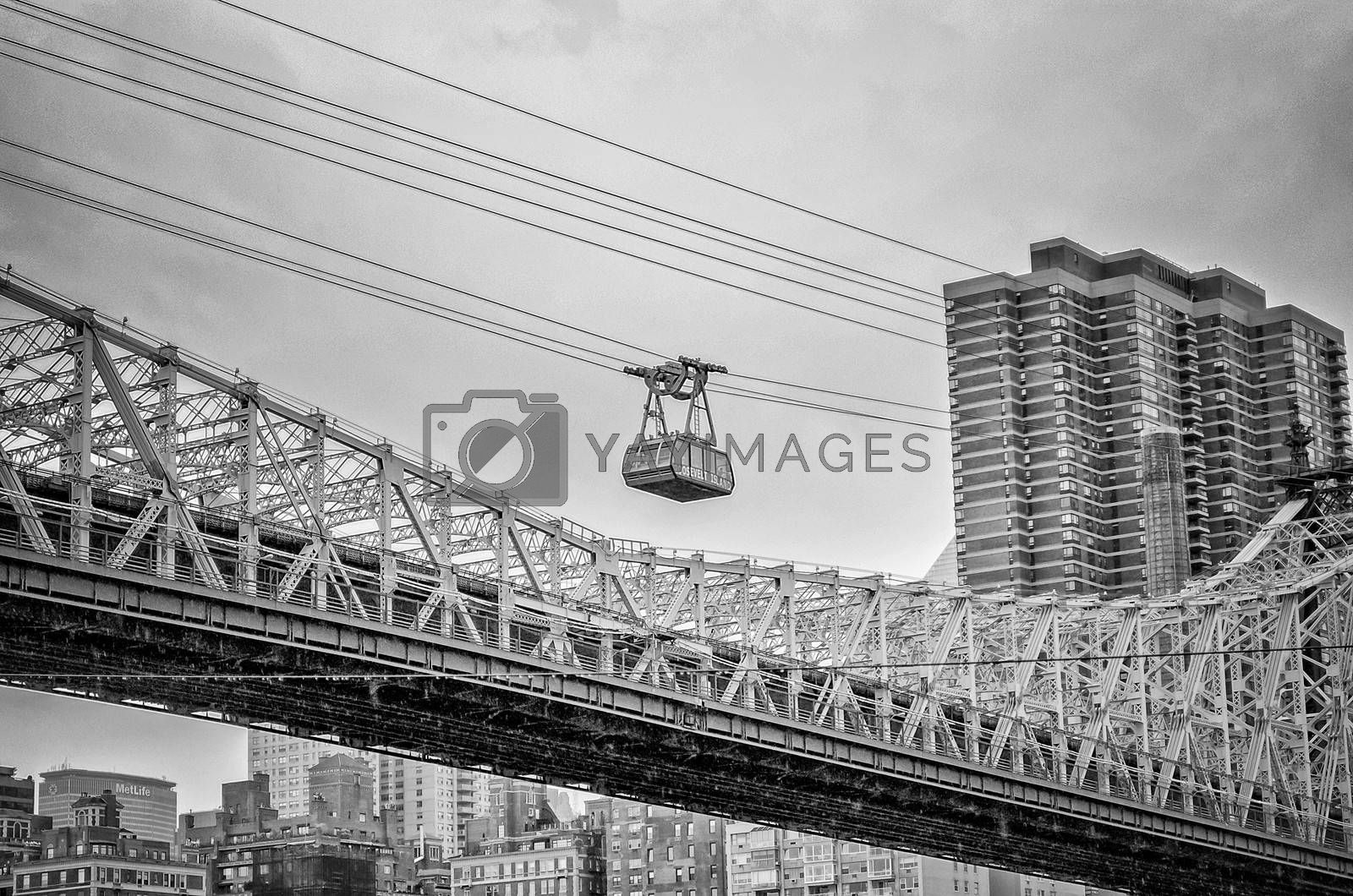 NEW YORK - MAY 28: The famous Roosevelt Island tramway on May 28, 2013. The Tram began operation in 1976 and featured in many movies and tv series, due to its popularity.
