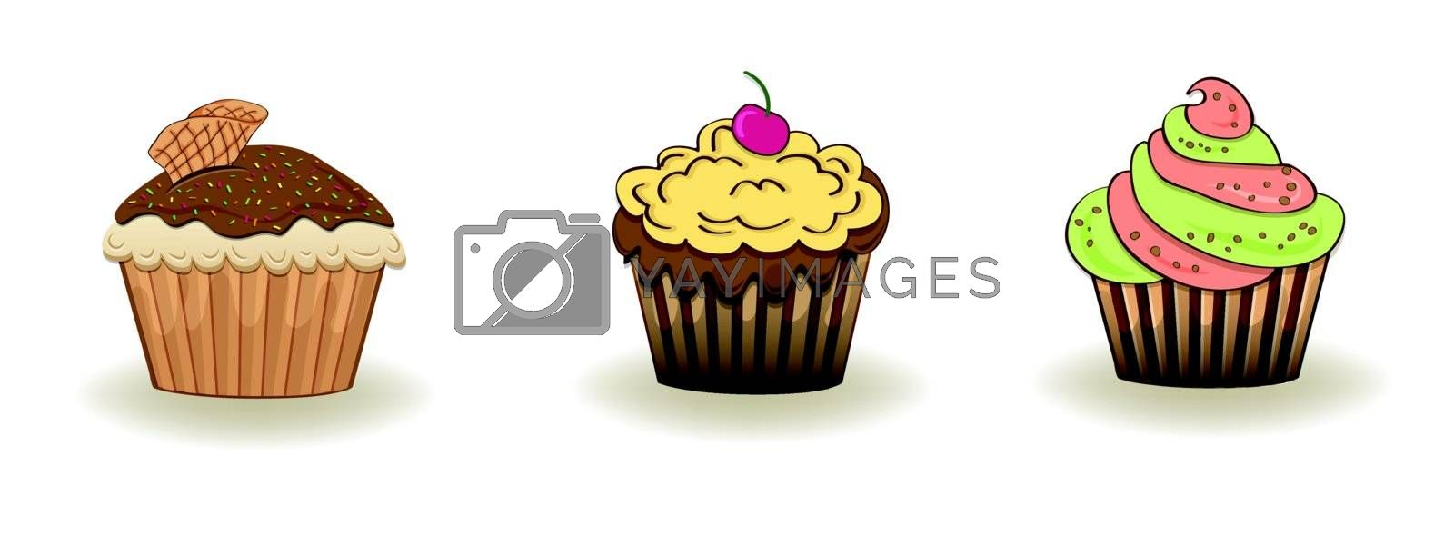 Set of 3 cute cupcakes isolated on white background