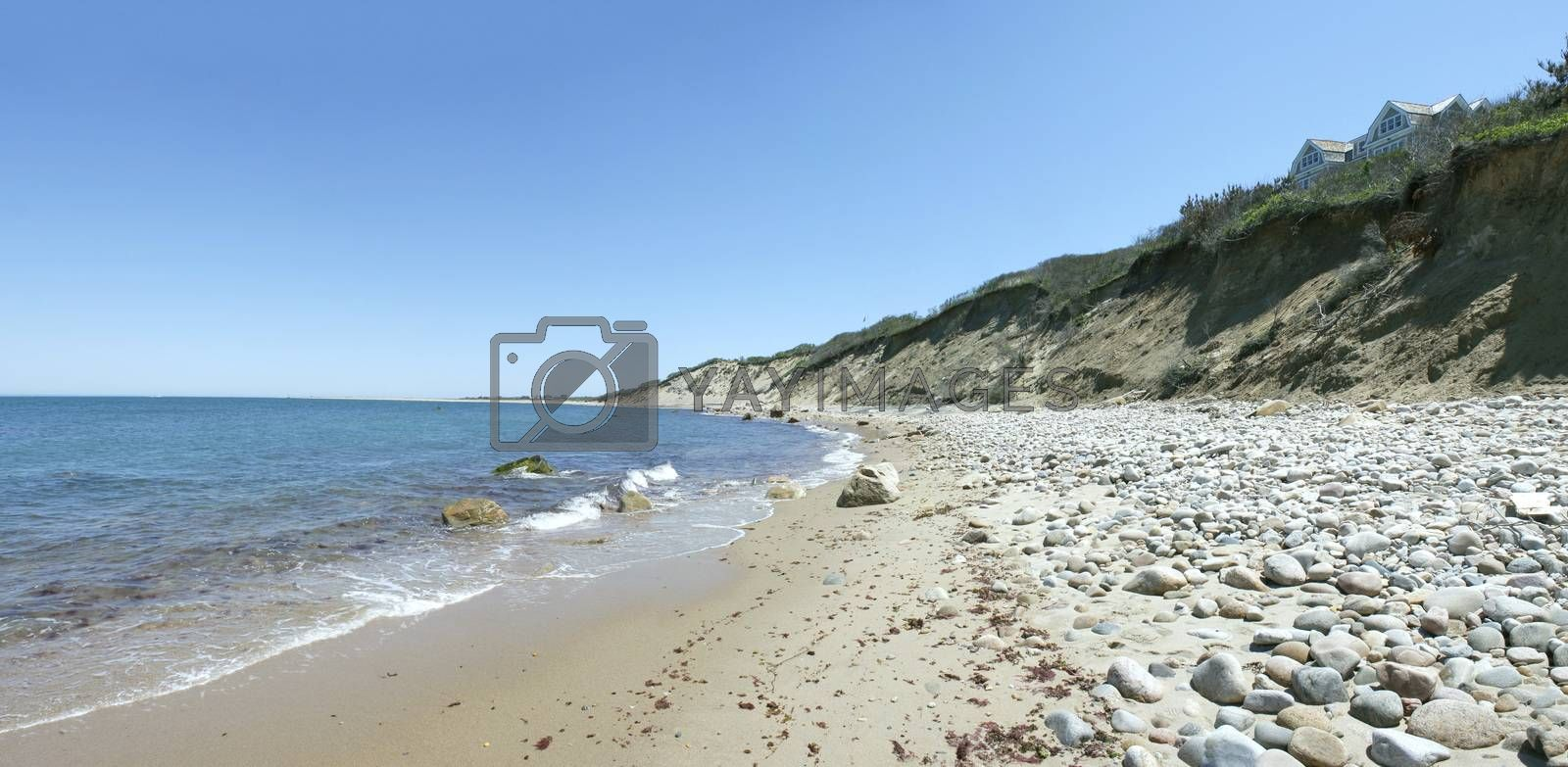 View of the dunes and coast Block Island located in the state of Rhode Island USA.