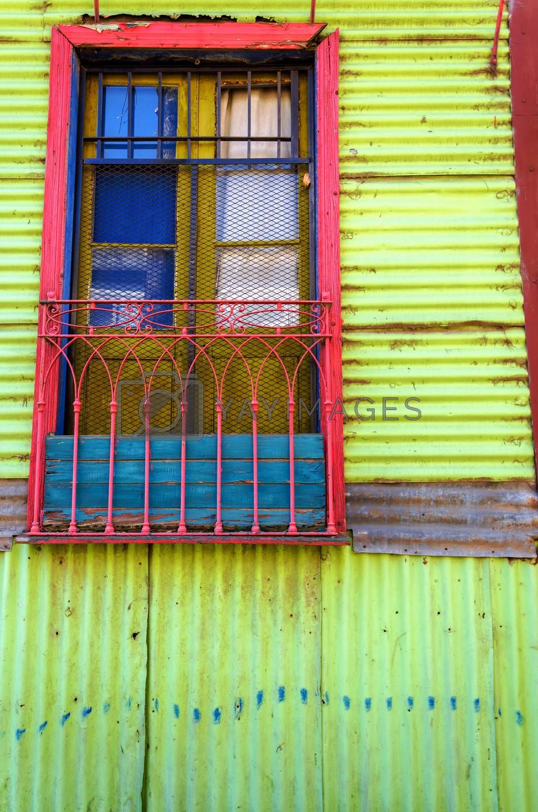 Colorful wall and window in La Boca neighborhood in Buenos Aires
