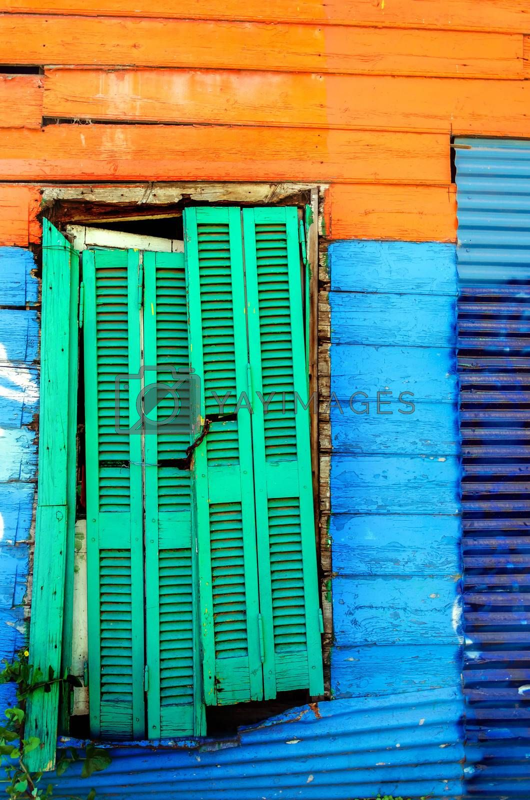 Brightly painted wall in La Boca neighborhood of Buenos Aires