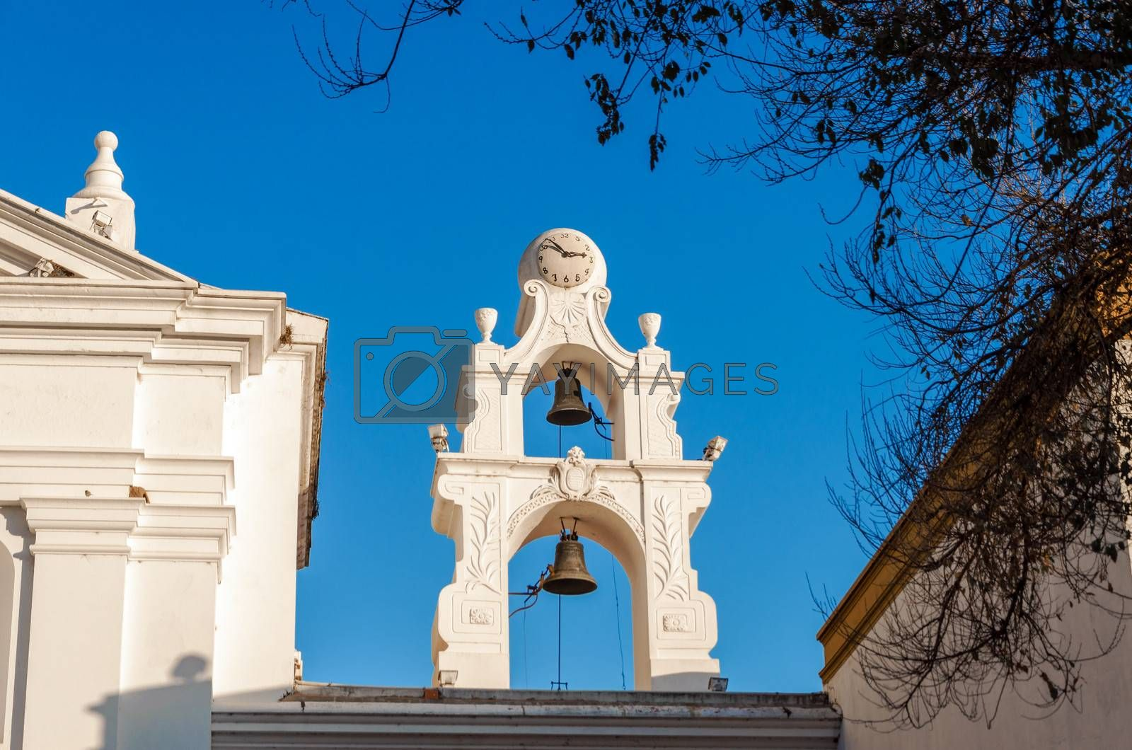 Bells on a white church in Recoleta neighborhood of Buenos Aires, Argentina