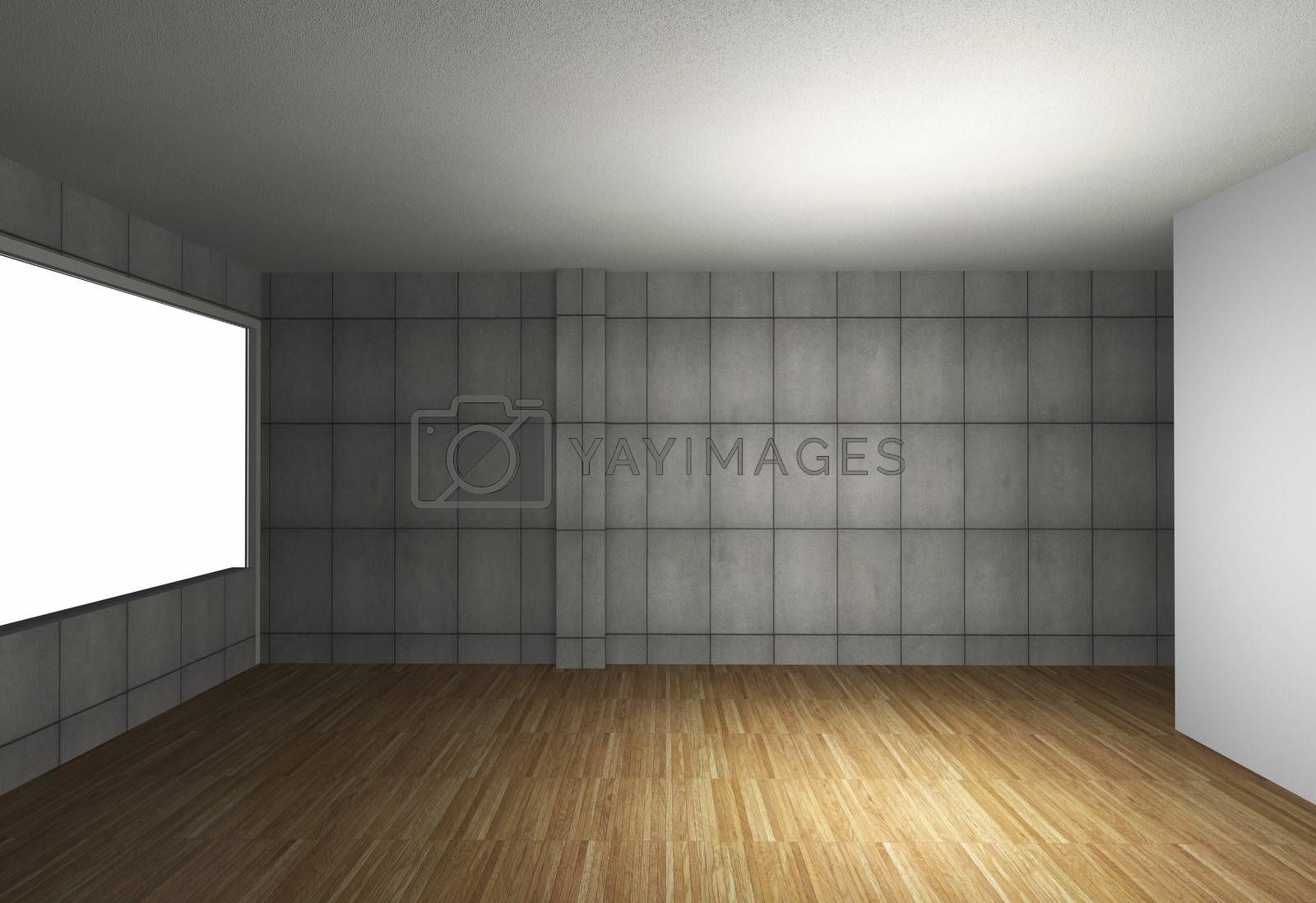 3D rendered of empty interior with bare concrete wall and wood floor