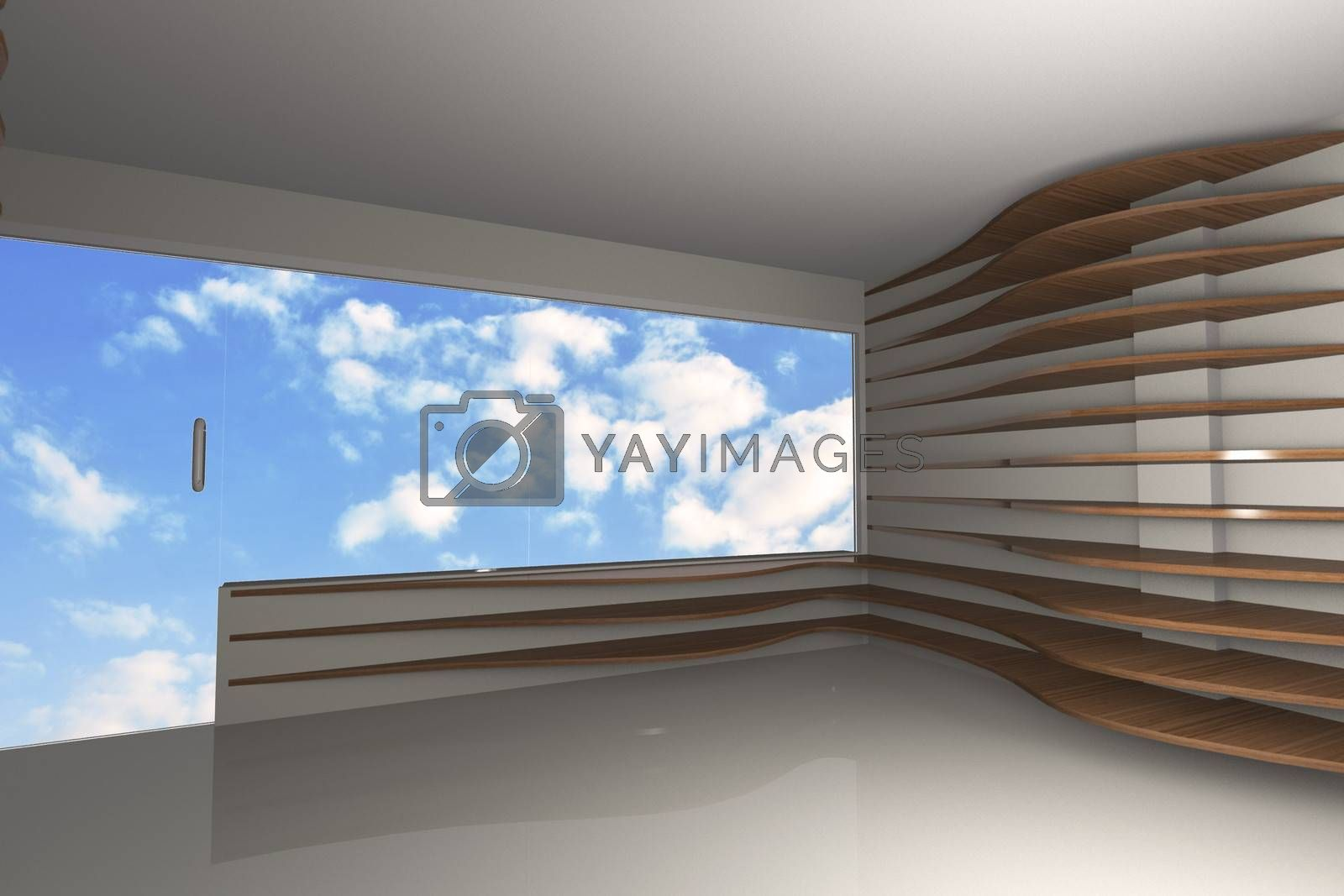 3D rendered of abstract interior with curve wood shelfs with blue sky background