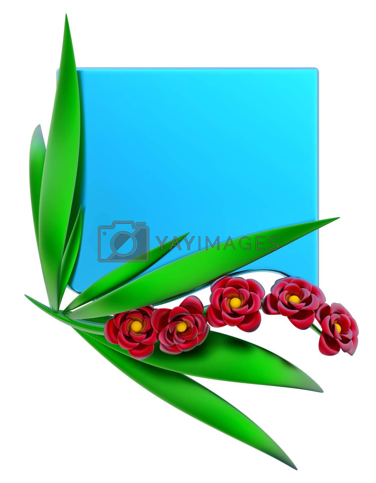 Blue form with leafs and red flowers