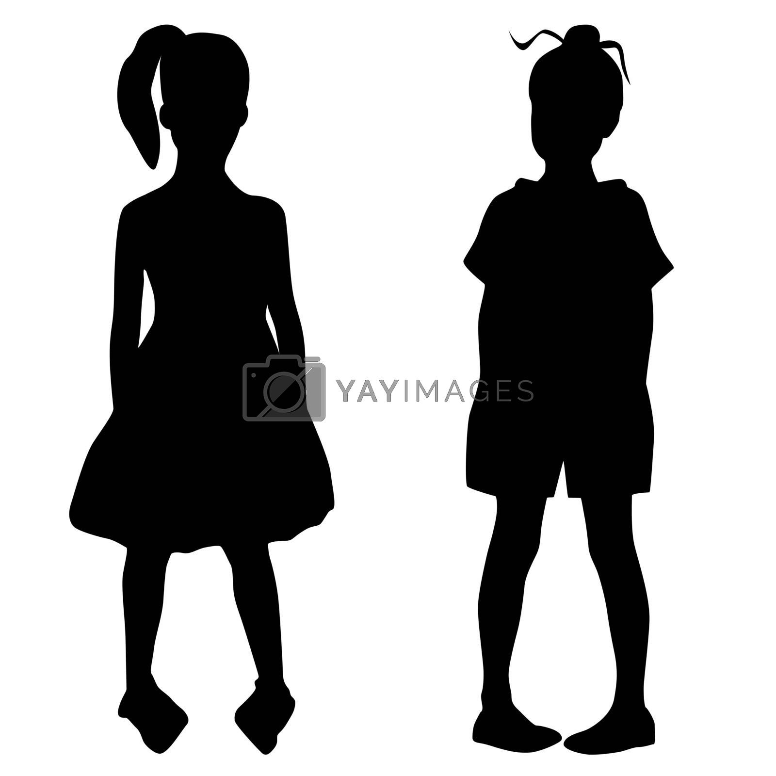 Silhouettes of two fashion girs