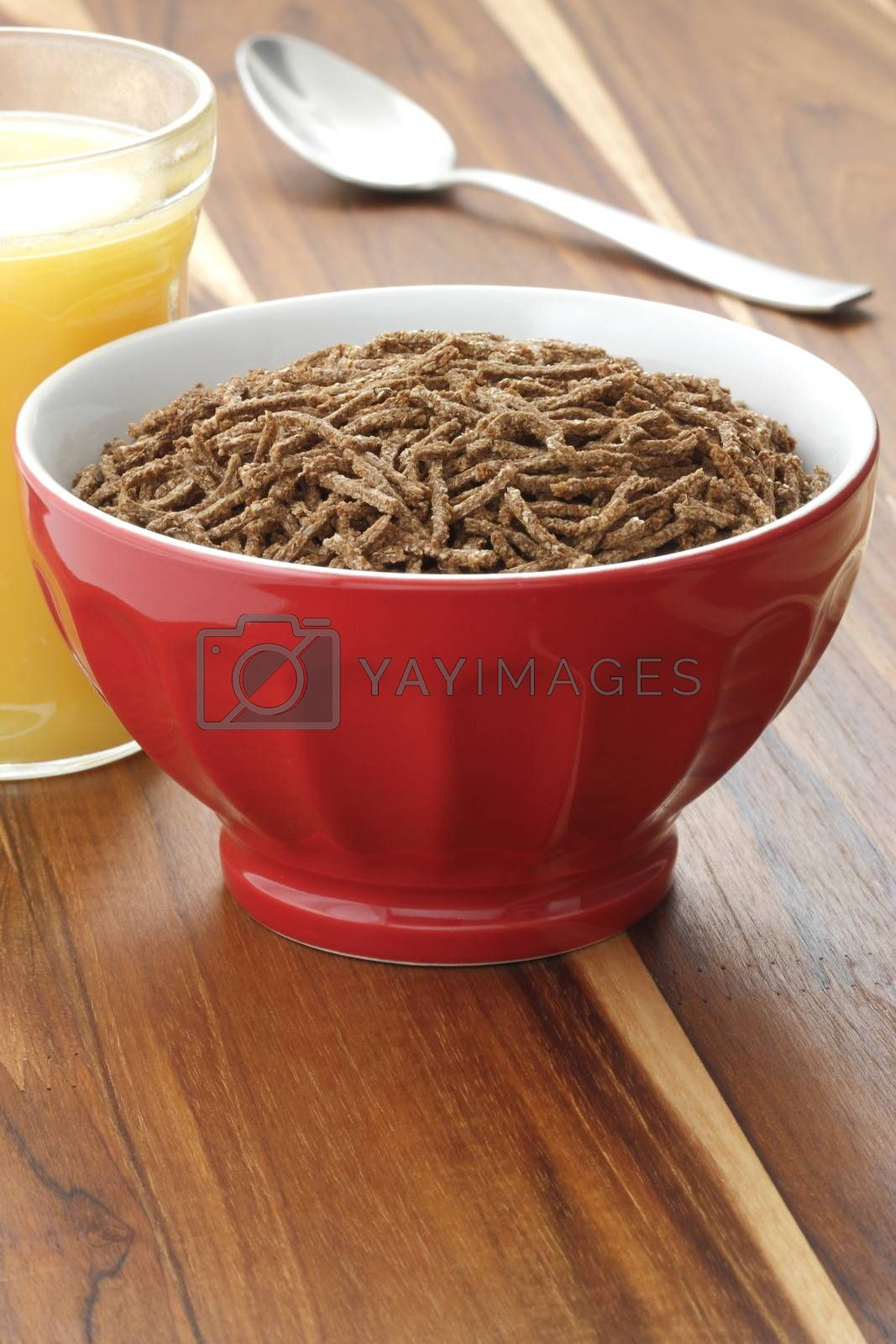 Delicious and nutritious cereal, high in bran, high in fiber, served in a beautiful  French Cafe au Lait Bowl with wide rims. In place of handles. This healthy bran cereal will be an aid to digestive health.