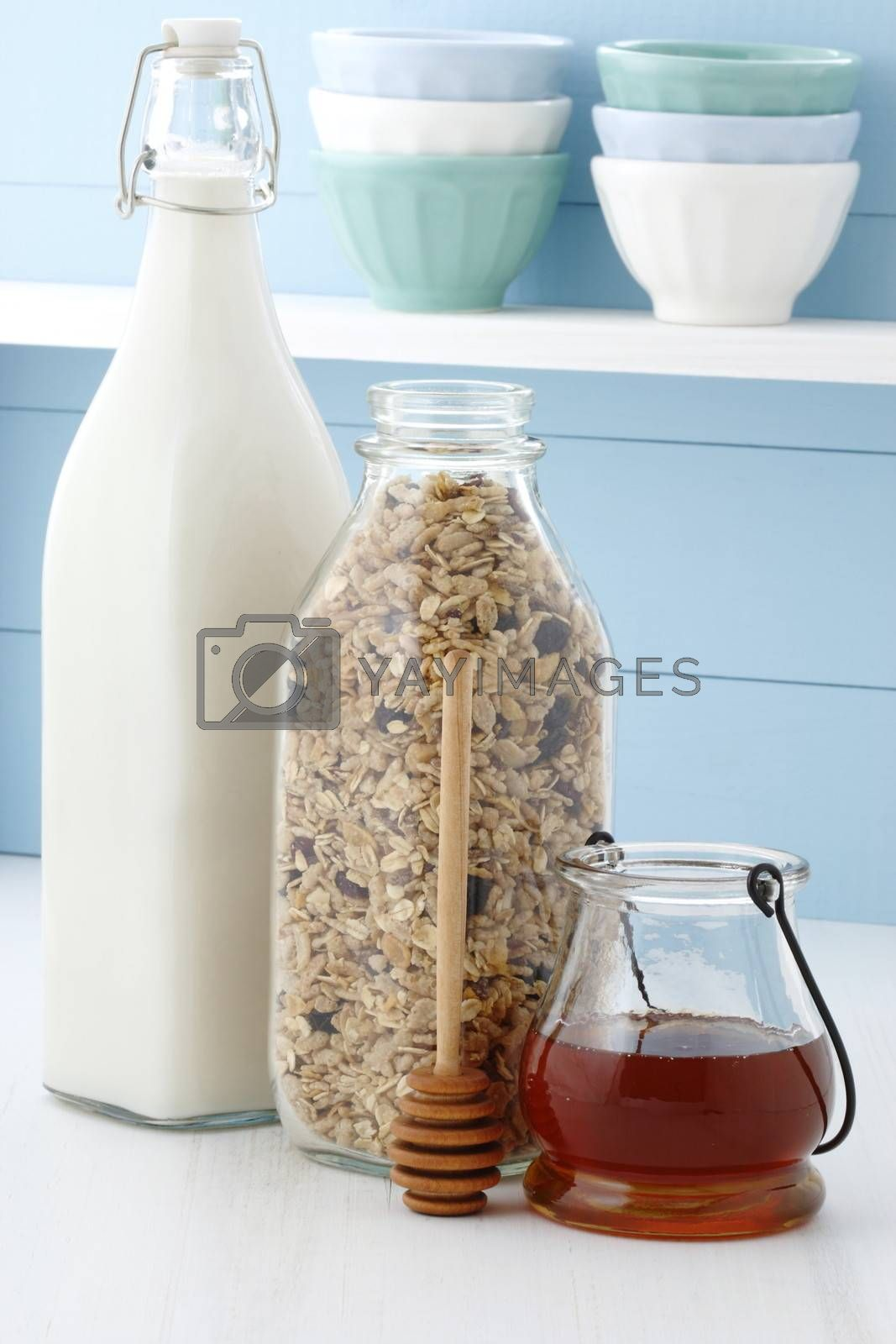Granola, delicious and healthy breakfast, meal or snack food; popular around the world, and often eaten in combination with yogurt or milk.