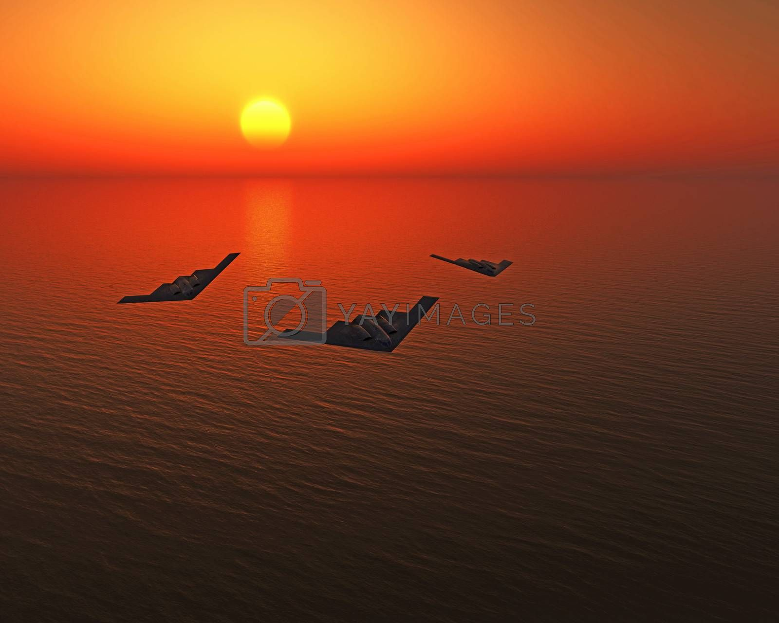 stealth fighters over the sea
