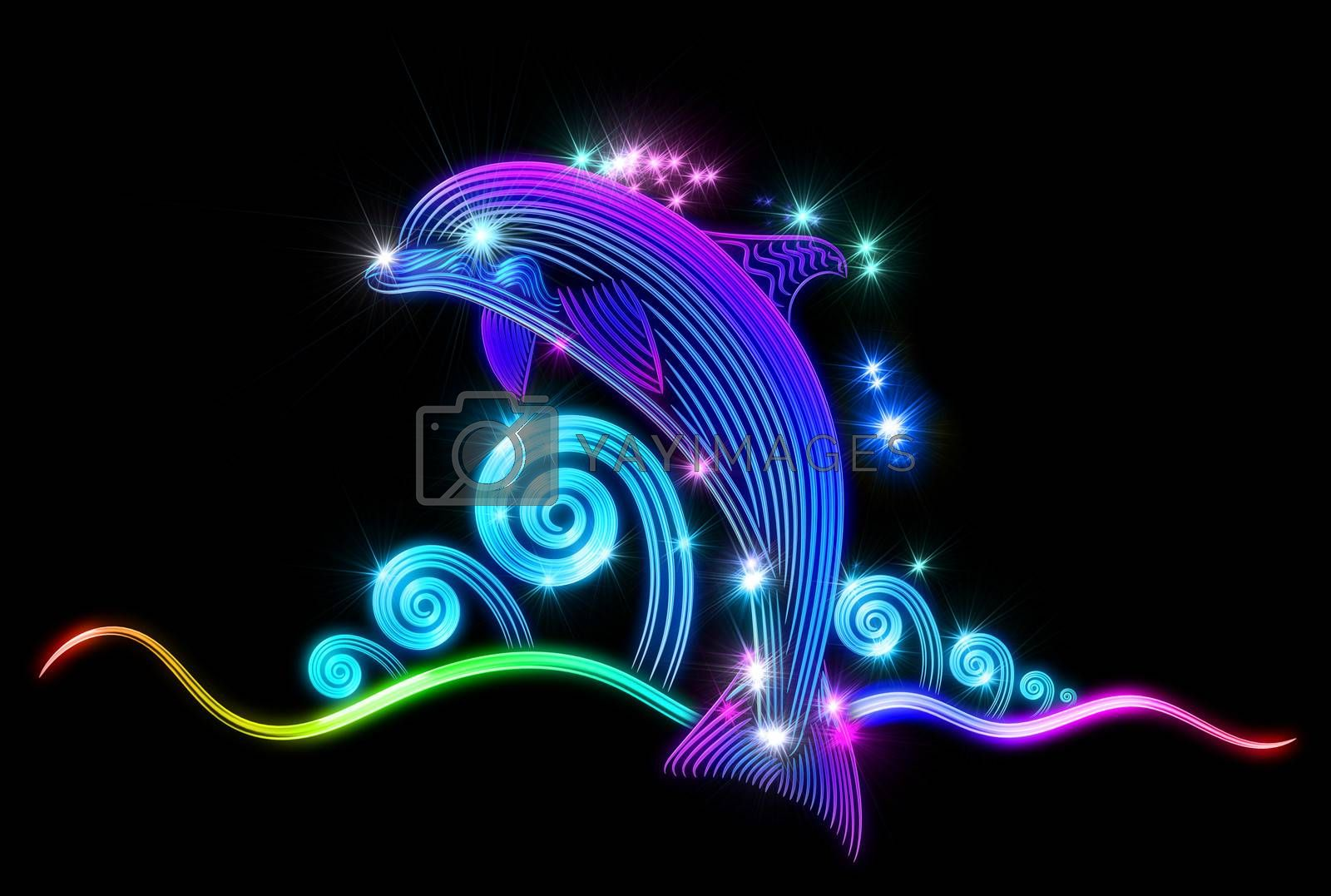 Beautiful swimming dolphin jumped from blue tropical ocean and slides on waves with bubbles and splashes of water. Water drops refract sunlight as a prism and visually similar to the shining stars.
