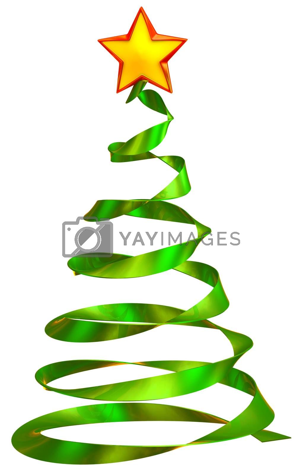 christmas tree with red star, made from glass as decorative holiday greeting card