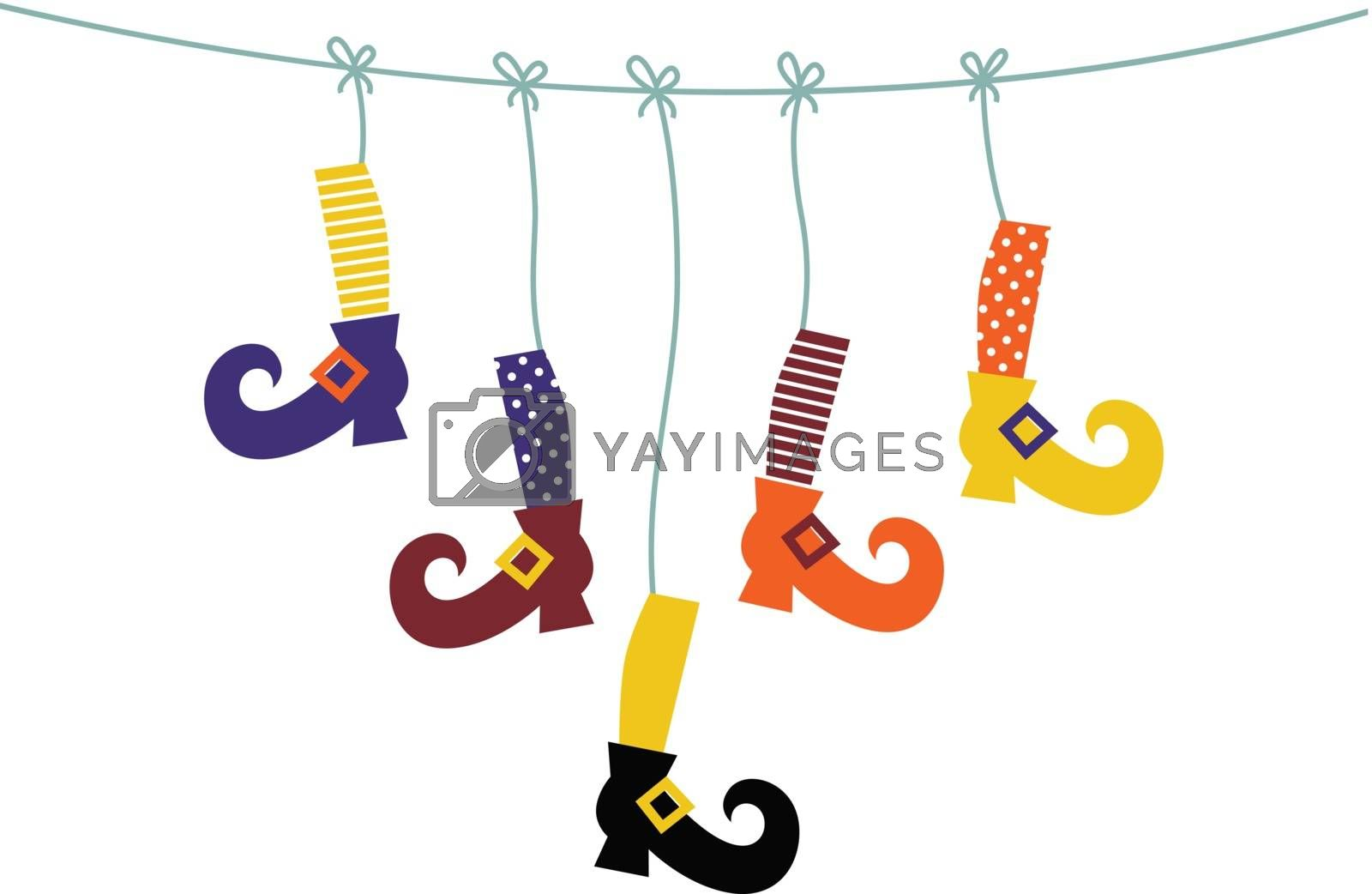 Cute colorful Witch legs handing. Vector Illustration