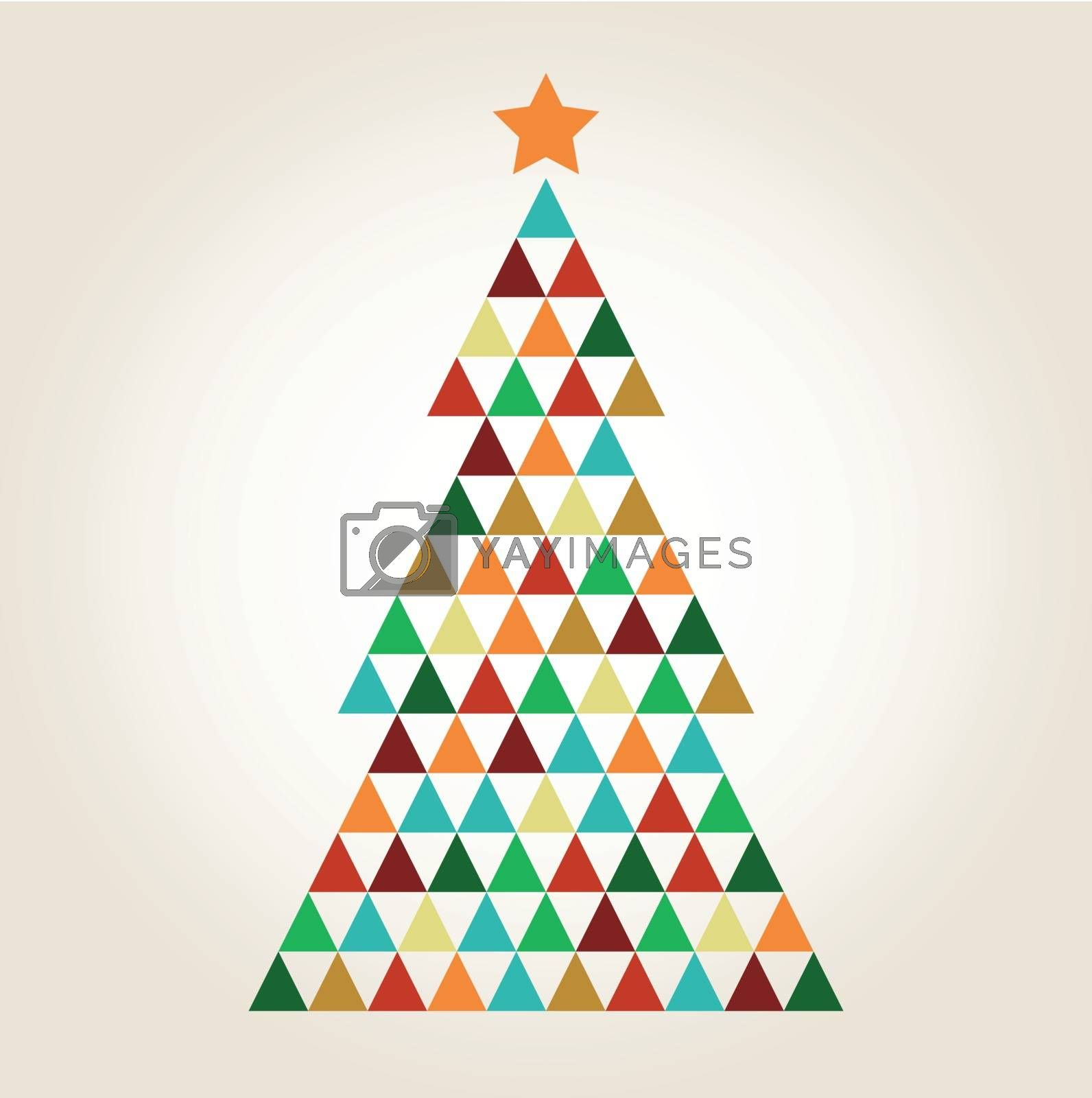 Merry Christmas colorful mosaic tree isolated on beige background by Lordalea