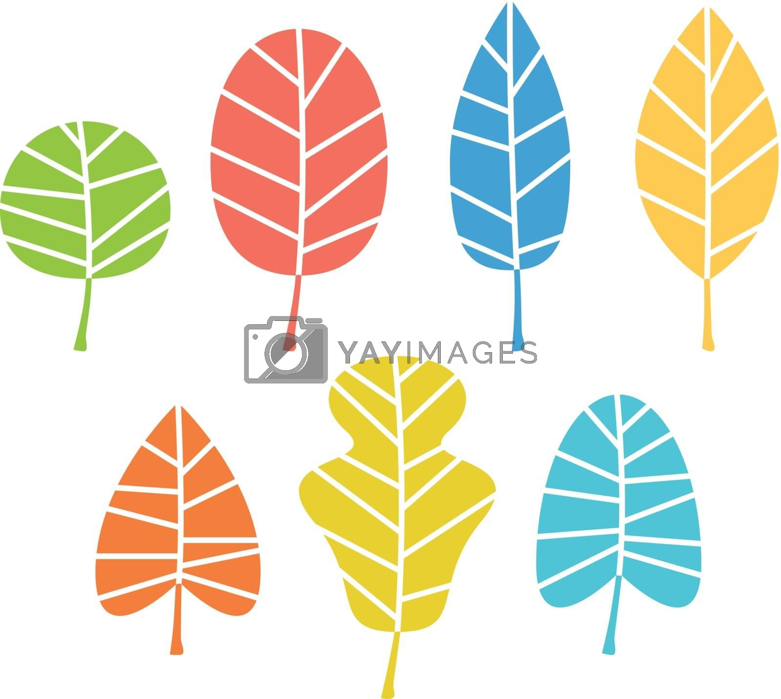 Royalty free image of Autumn leaves collection in vibrant colors isolated on white by Lordalea