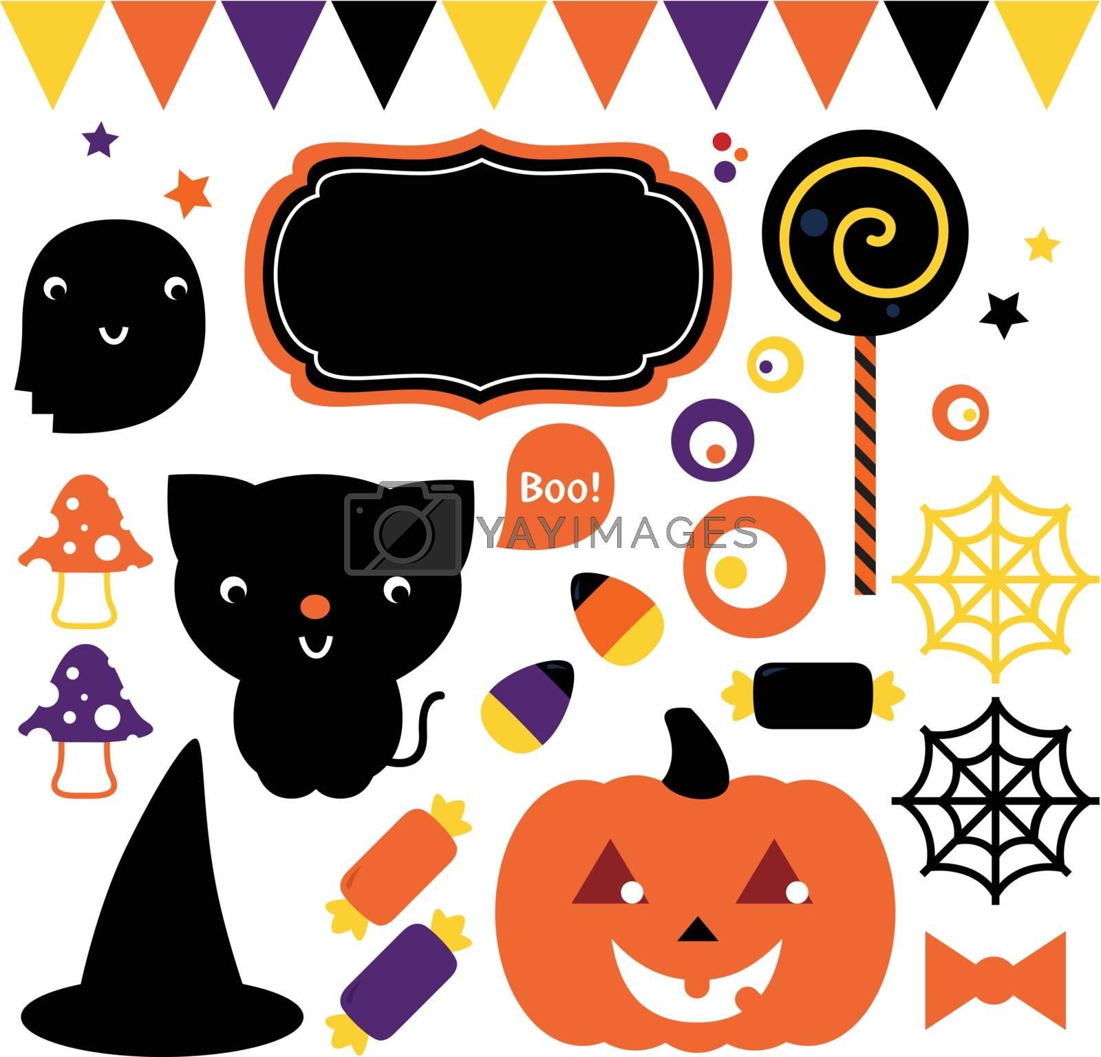 Cute halloween design elements. Vector Illustration