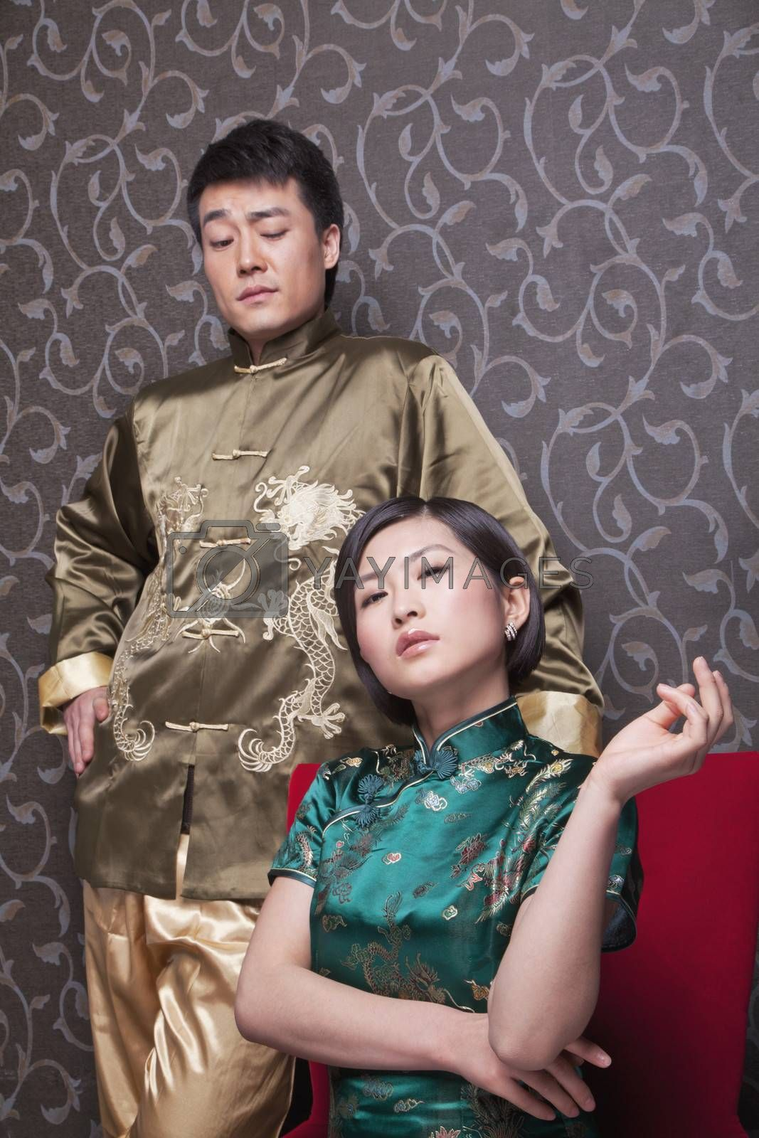 Portrait of Cool Couple in Chinese Traditional Clothing