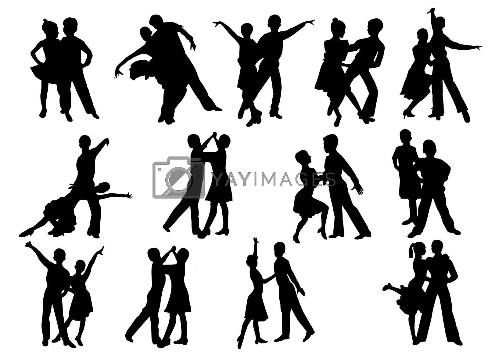 Silhouettes of dancing people by alexmak