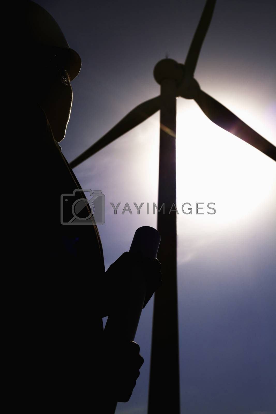 Young female engineer holding blueprints and checking wind turbines on site, silhouette
