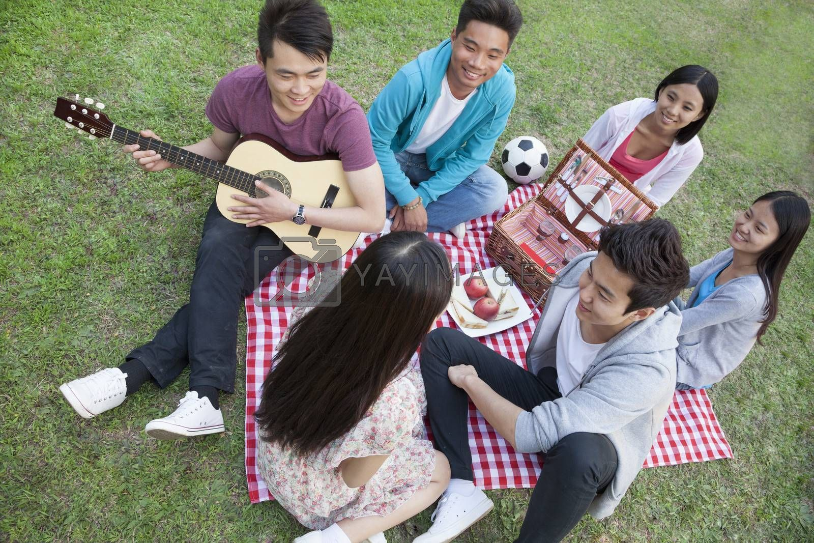 Six friends having a picnic and hanging out in the park, playing guitar and talking by XiXinXing
