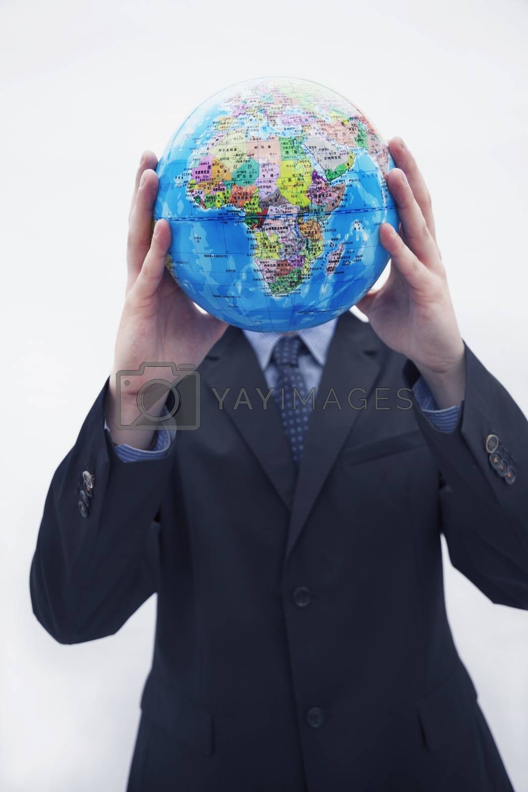 Businessman in a suit holding up a globe in front of his face, obscured face, studio shot by XiXinXing