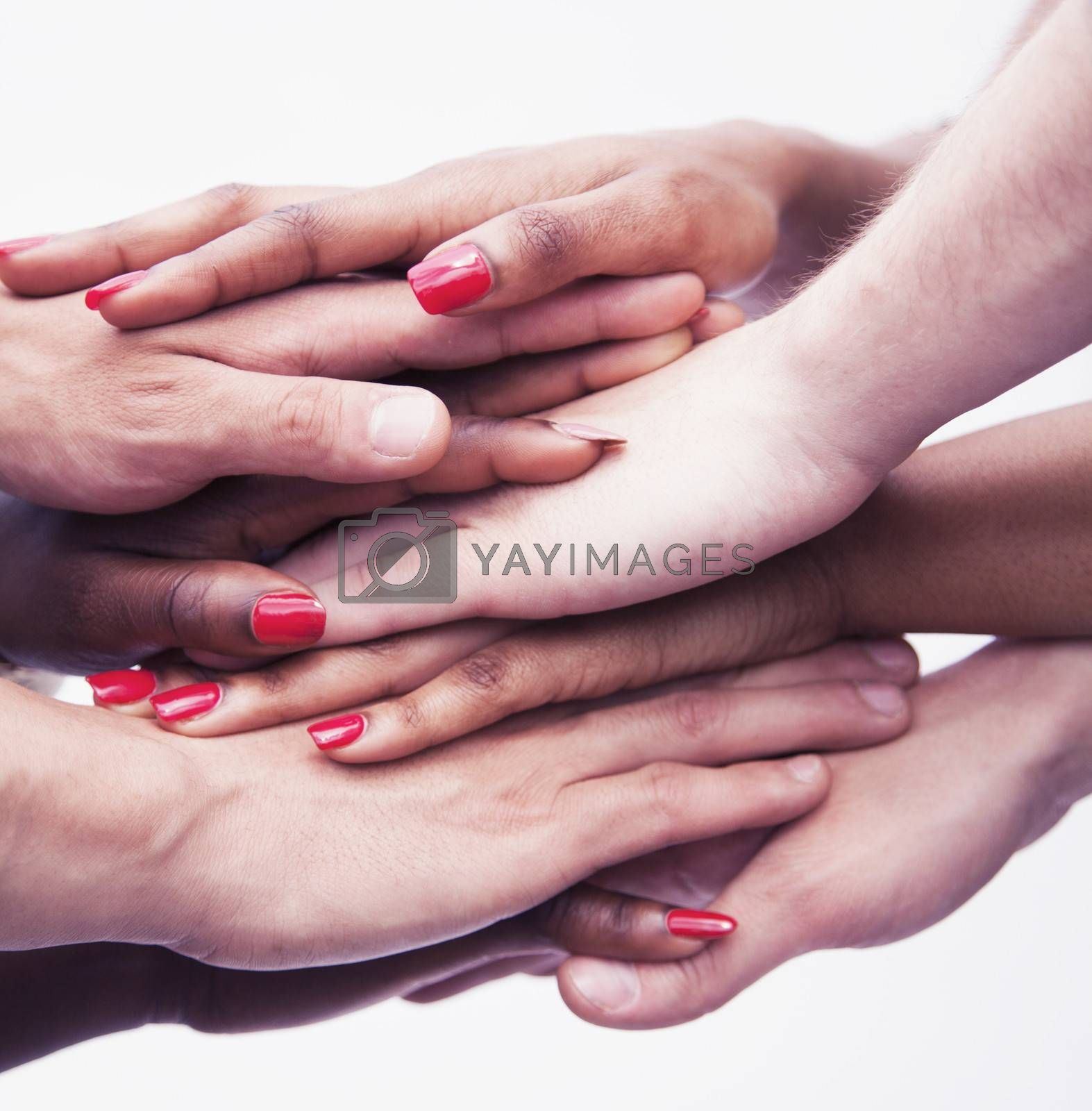 Close-up on a pile of hands on top of each other, multi-ethnic group of people, studio shot by XiXinXing