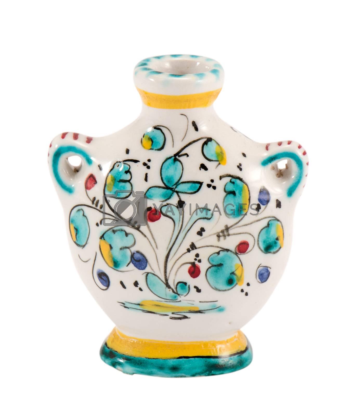 handmade ceramic flat vase with flower art paintings isolated on white background.