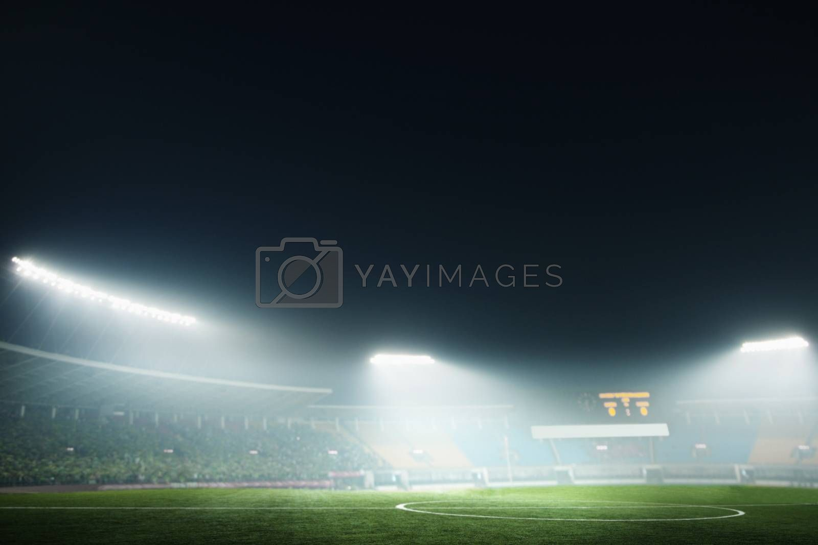 Digital coposit of soccer field and night sky by XiXinXing