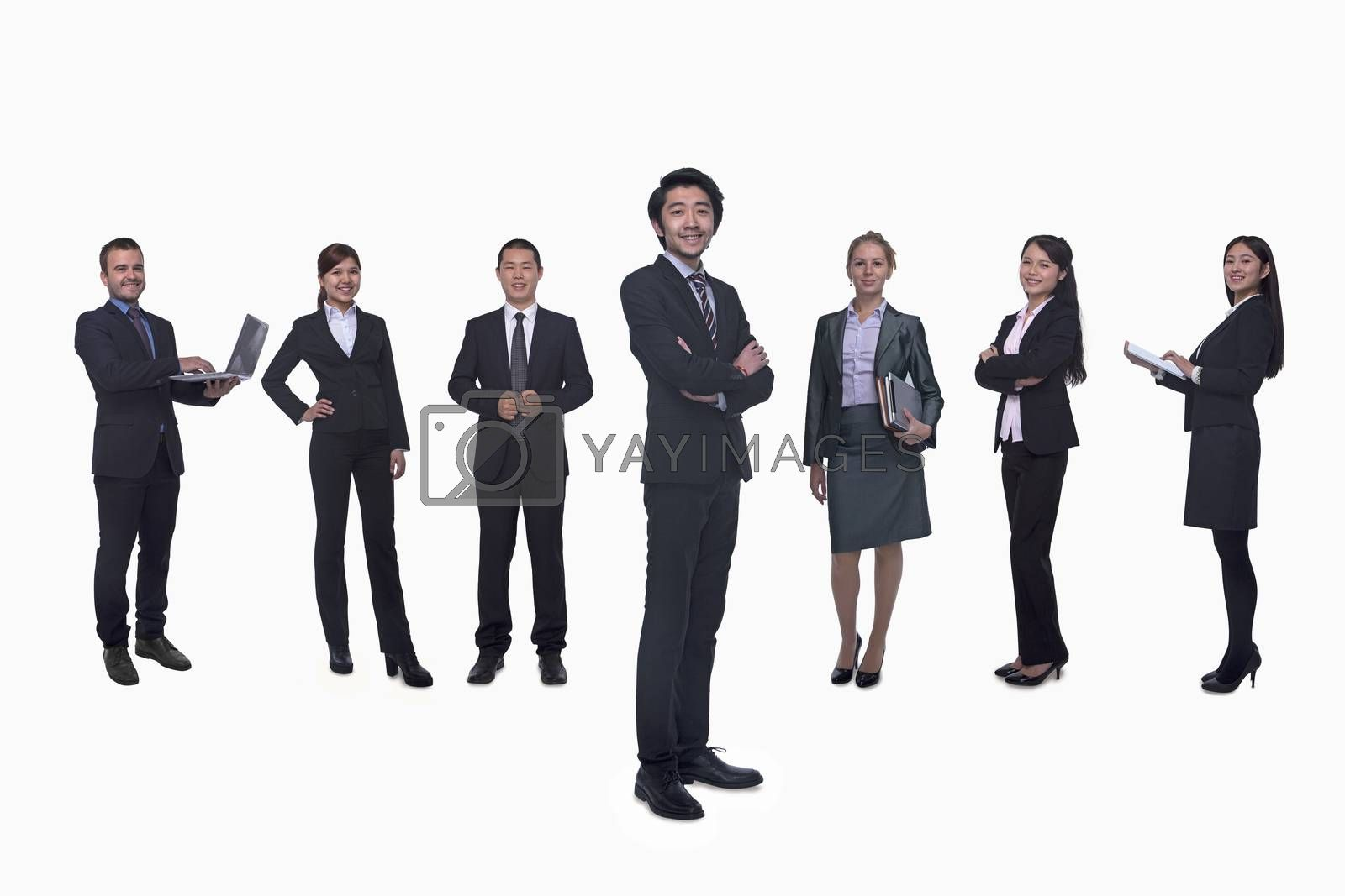 Medium group of business people in a row, portrait, full length, studio shot by XiXinXing
