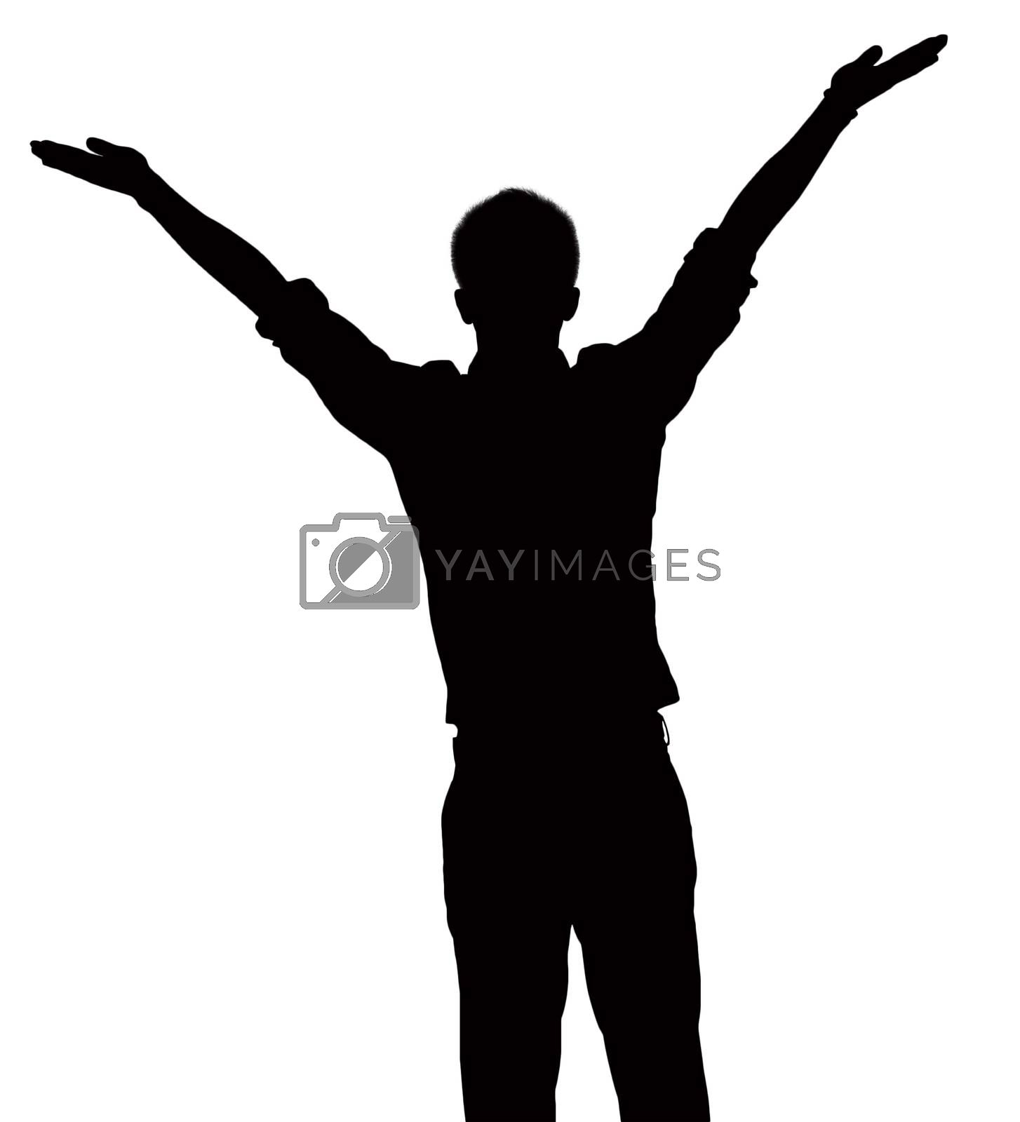 Silhouette of businessman with arms raised.