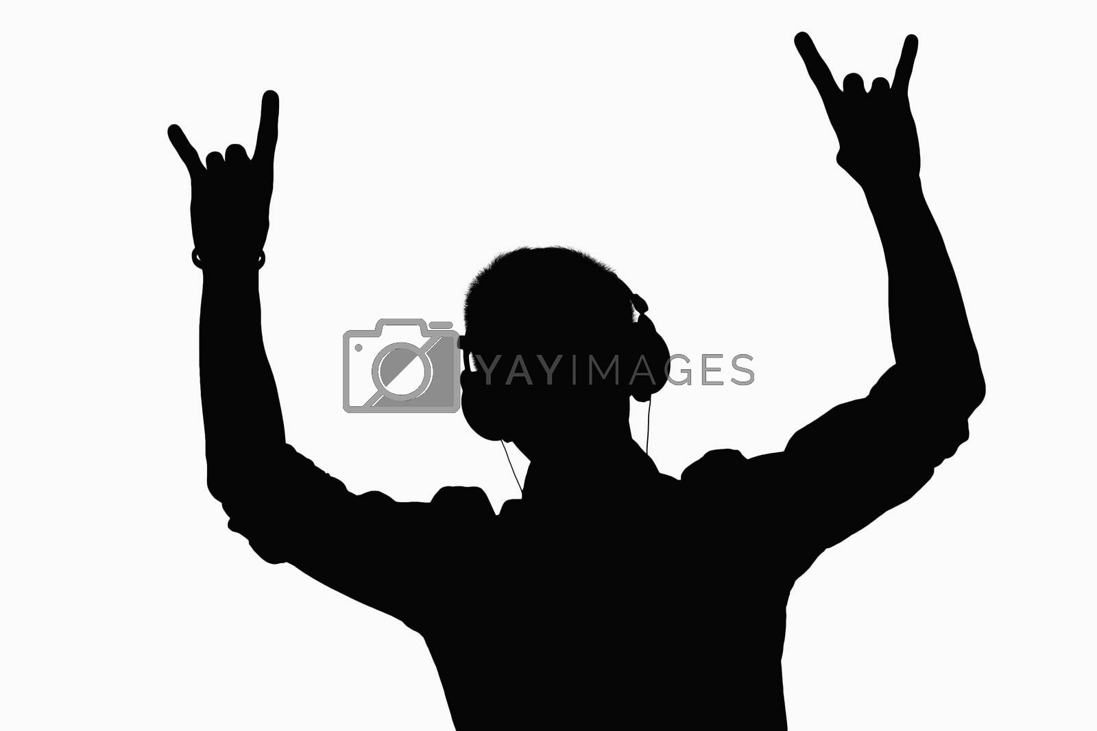 Silhouette of man listening to headphones.