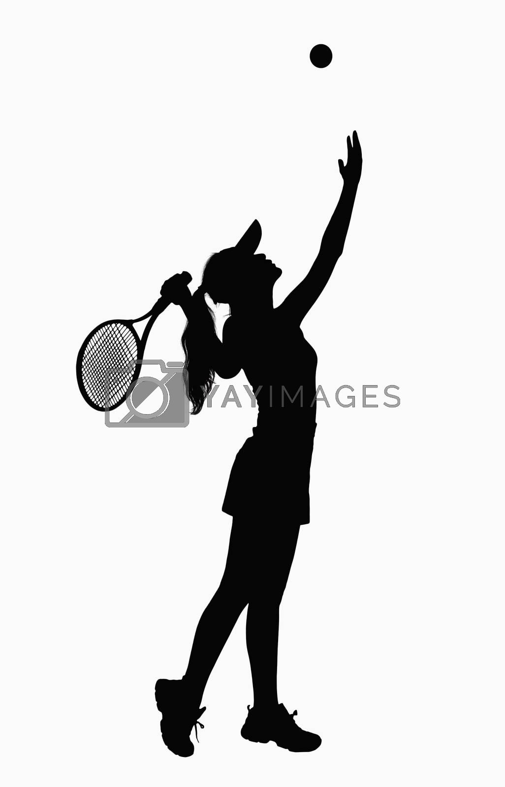 Silhouette of woman with tennis racket, serving.
