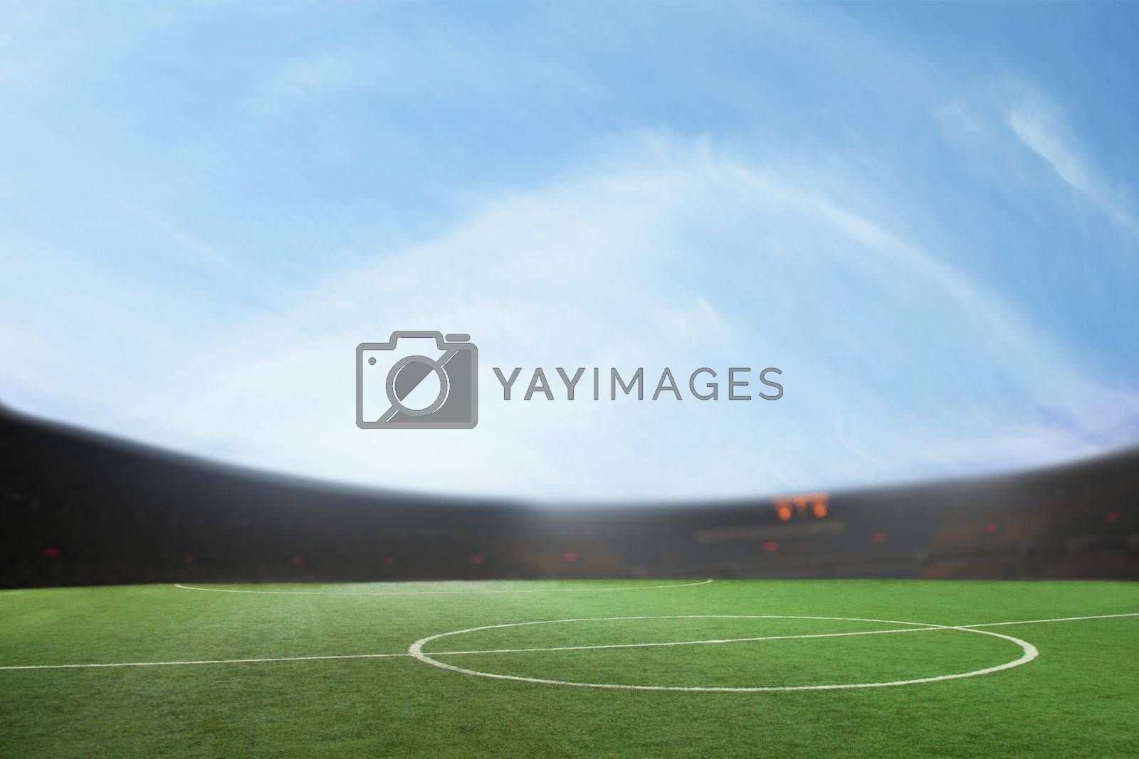 Digital composit of soccer field and blue sky by XiXinXing