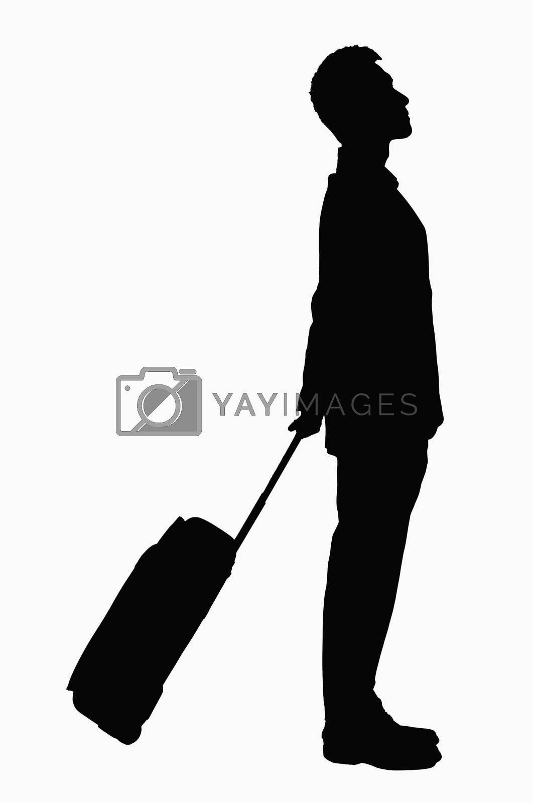 Silhouette of businessman with suitcase. by XiXinXing