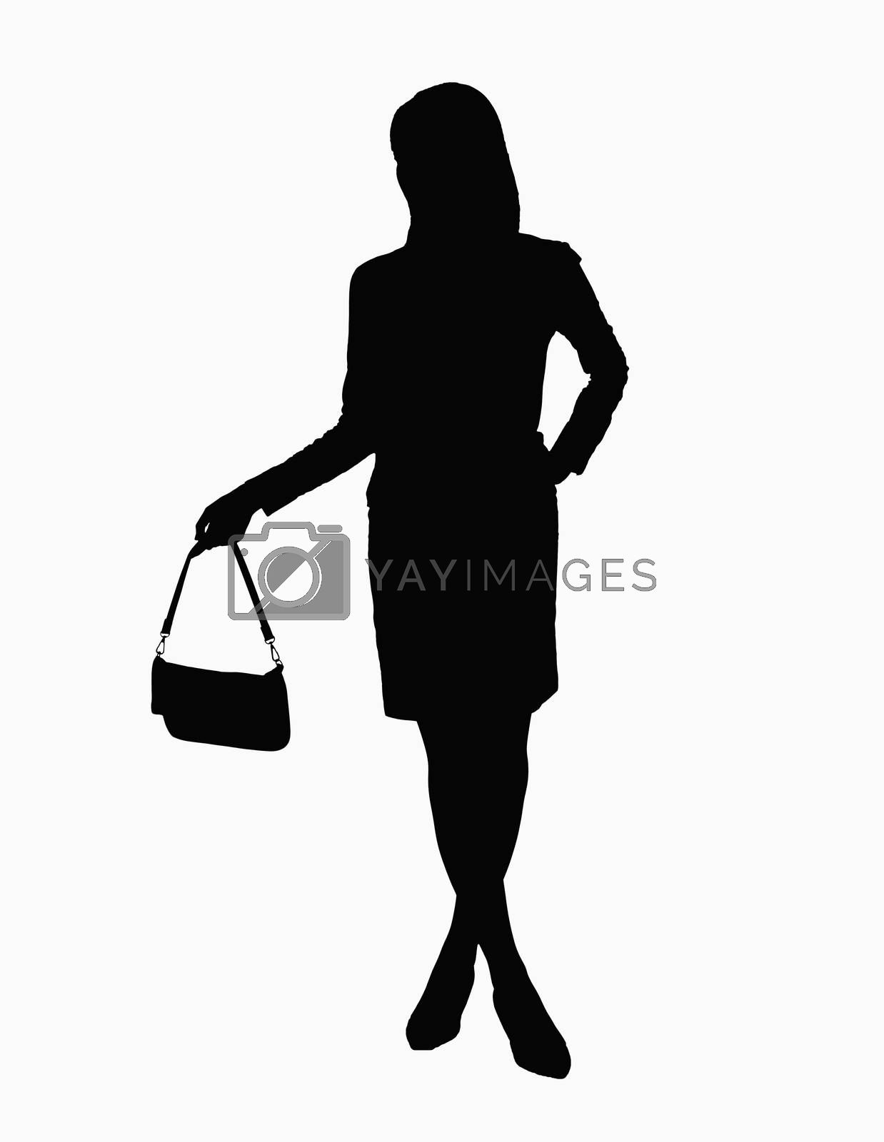 Silhouette of businesswoman holding handbag.